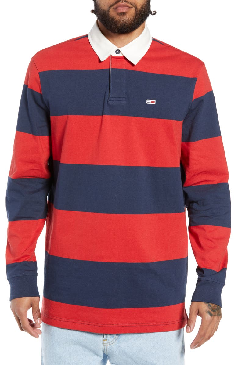 Shop Tommy Jeans Tjm Tommy Classics Rugby Shirt In Black Iris Samba
