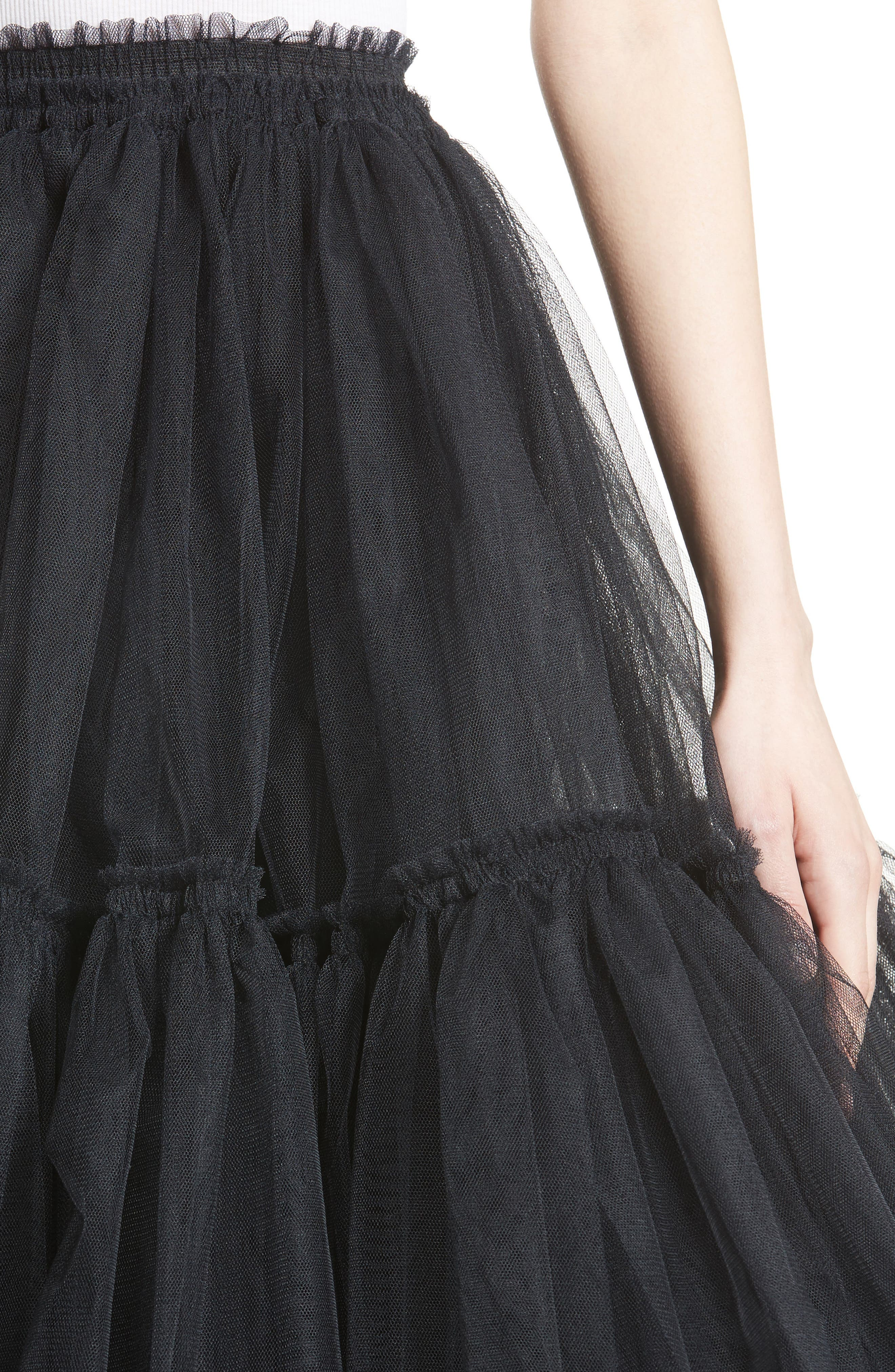 Gathered Tulle Skirt,                             Alternate thumbnail 4, color,                             001
