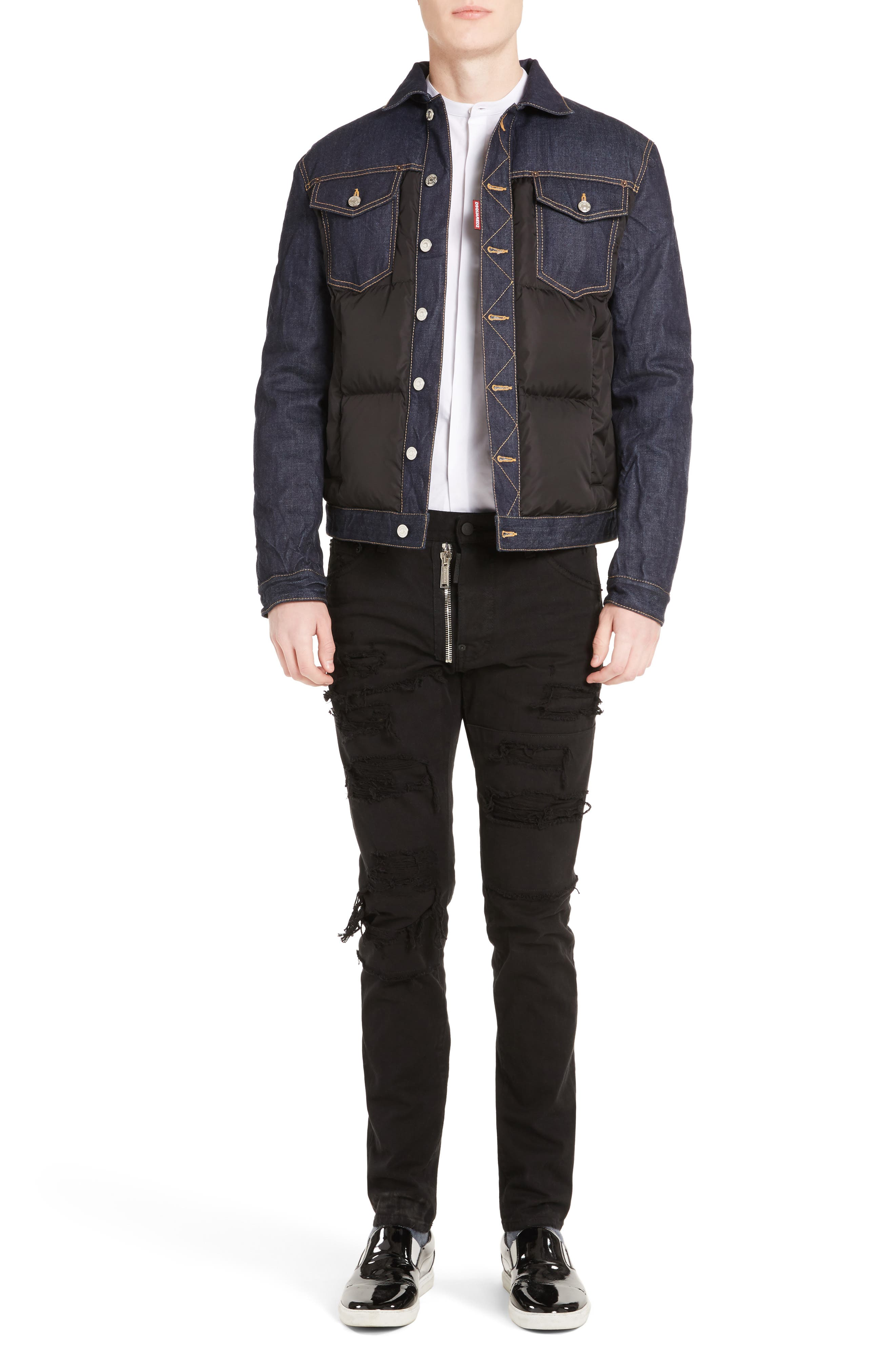 Mixed Media Quilted Denim Jacket,                             Alternate thumbnail 6, color,                             008