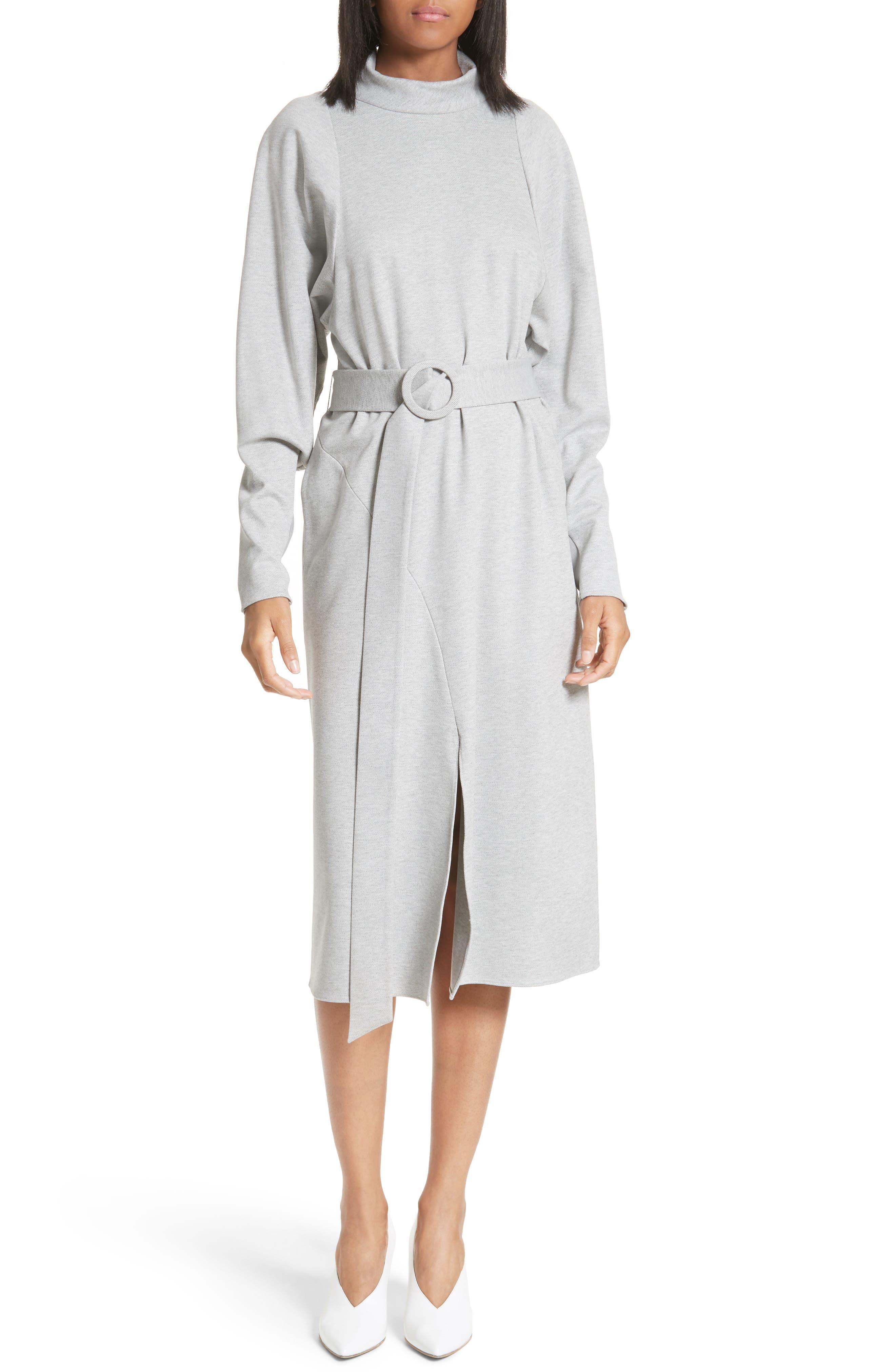 Dolman Sleeve Stretch Twill Midi Dress,                             Main thumbnail 1, color,                             020