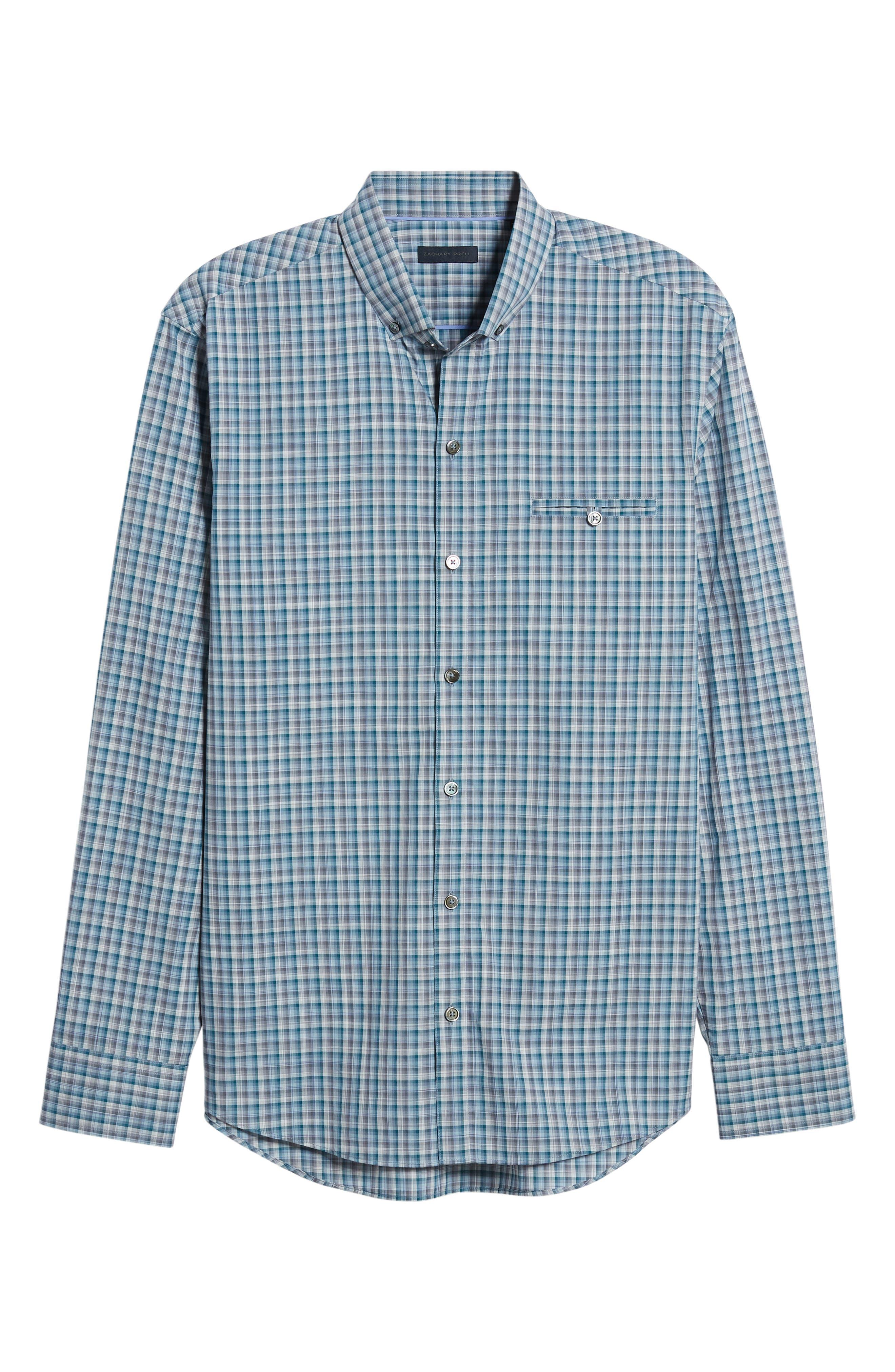 Godinez Check Sport Shirt,                             Alternate thumbnail 5, color,                             DARK TEAL