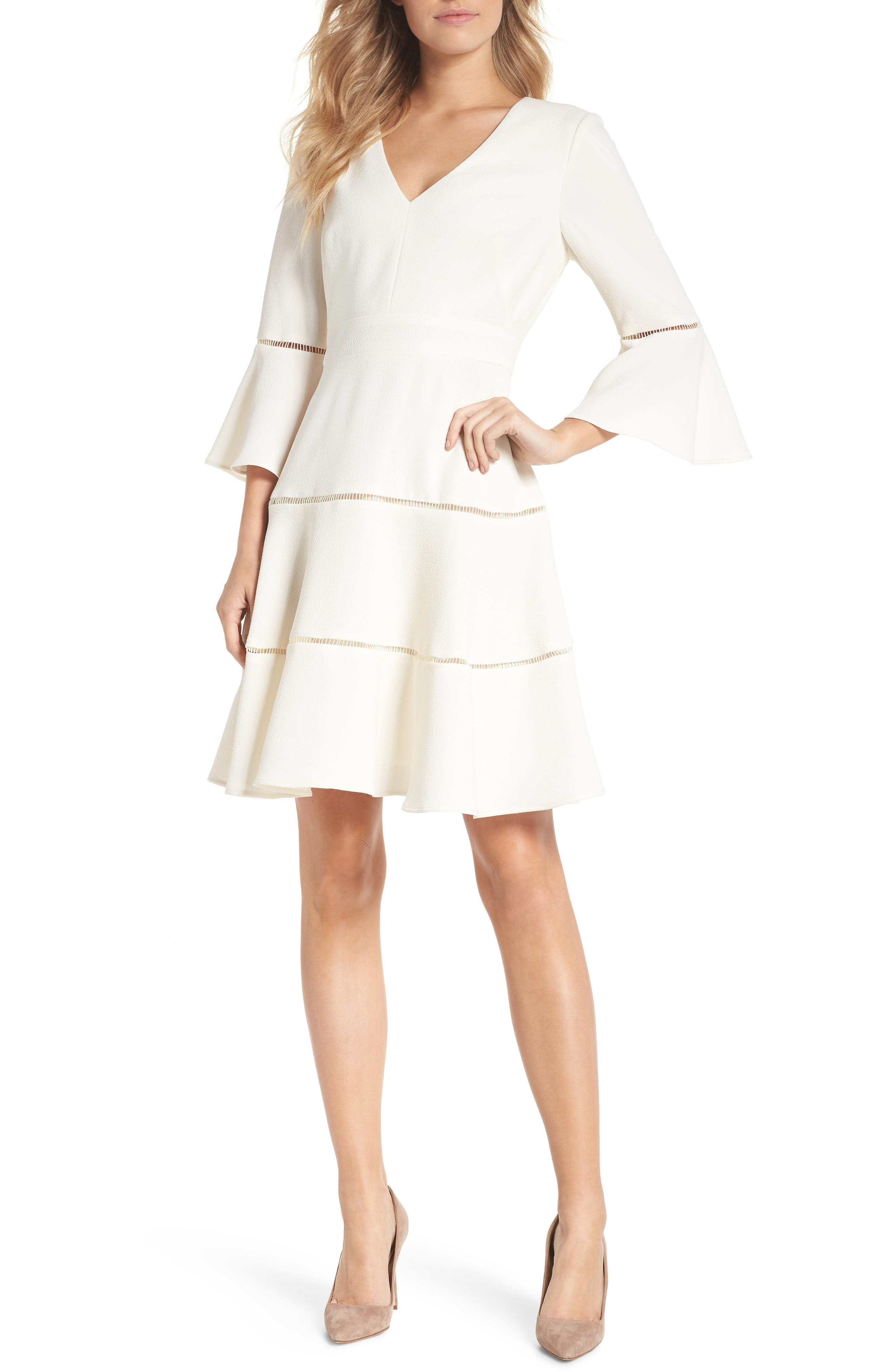 Bell Sleeve Lace Inset Fit & Flare Dress, Main, color, IVORY