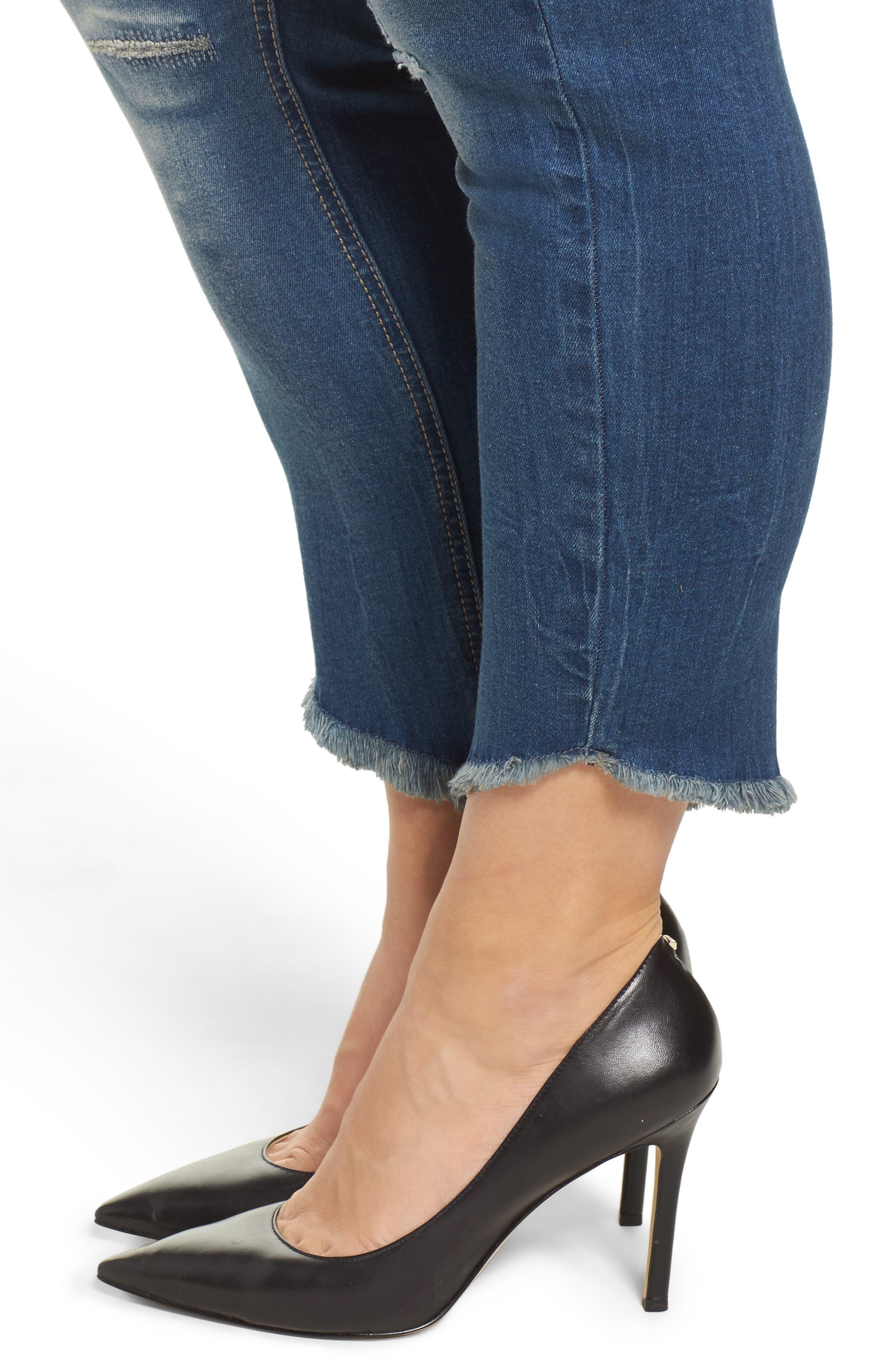 Frayed Hem Skinny Jeans,                             Alternate thumbnail 4, color,                             419