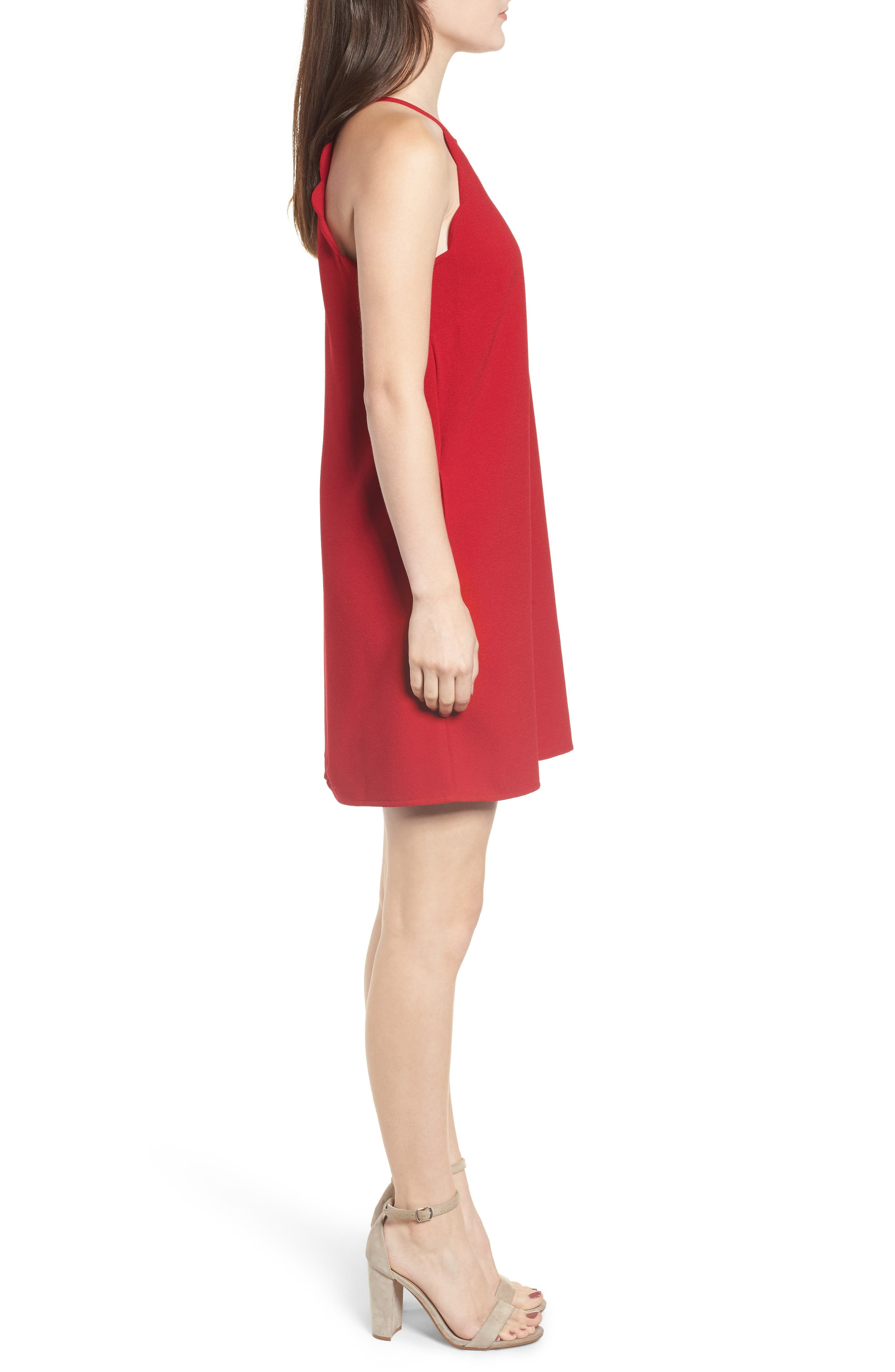 Crepe Scallop Trim Shift Dress,                             Alternate thumbnail 3, color,                             CHERRY