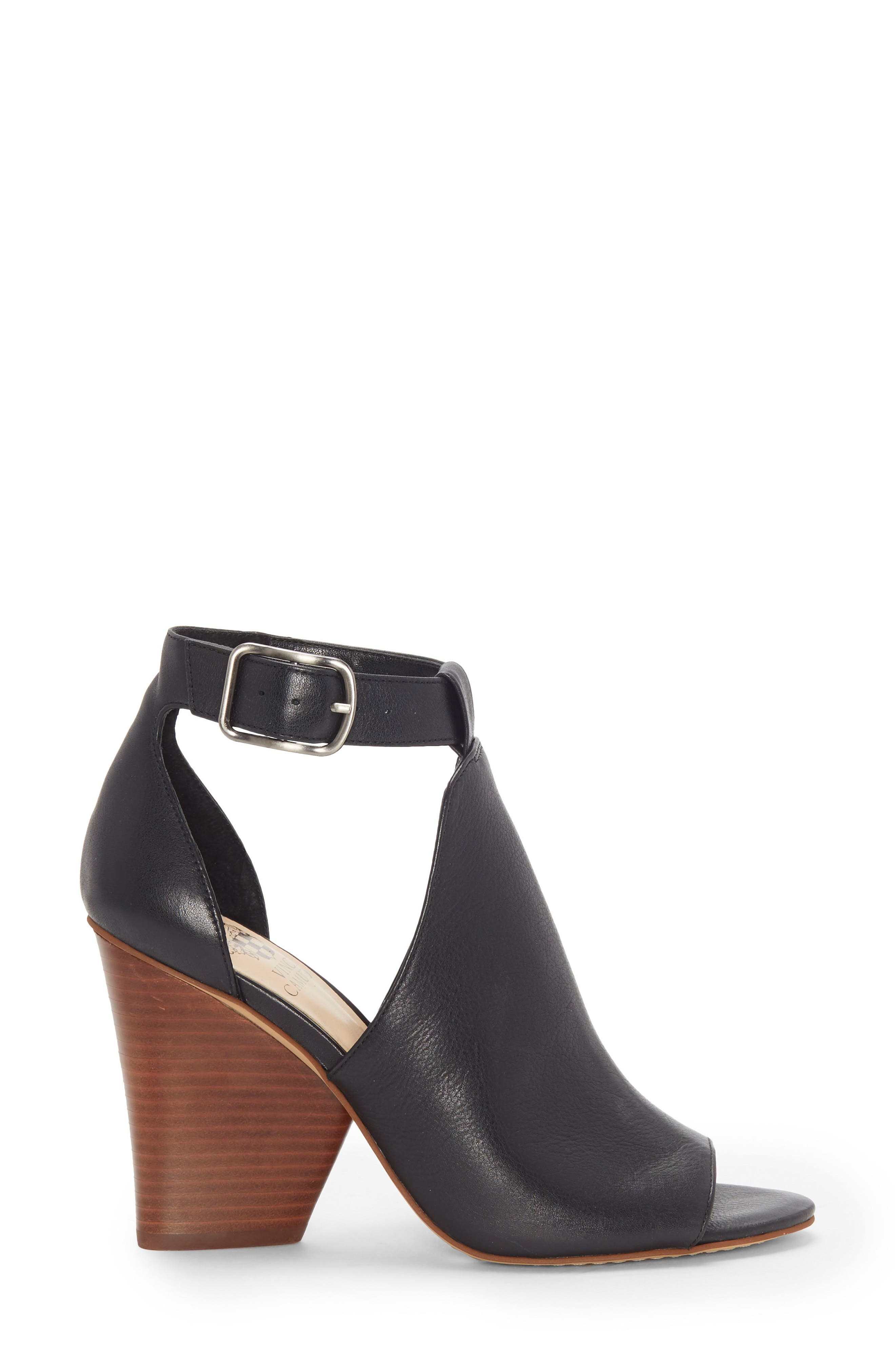 Adaren Peep Toe Sandal,                             Alternate thumbnail 3, color,                             BLACK LEATHER