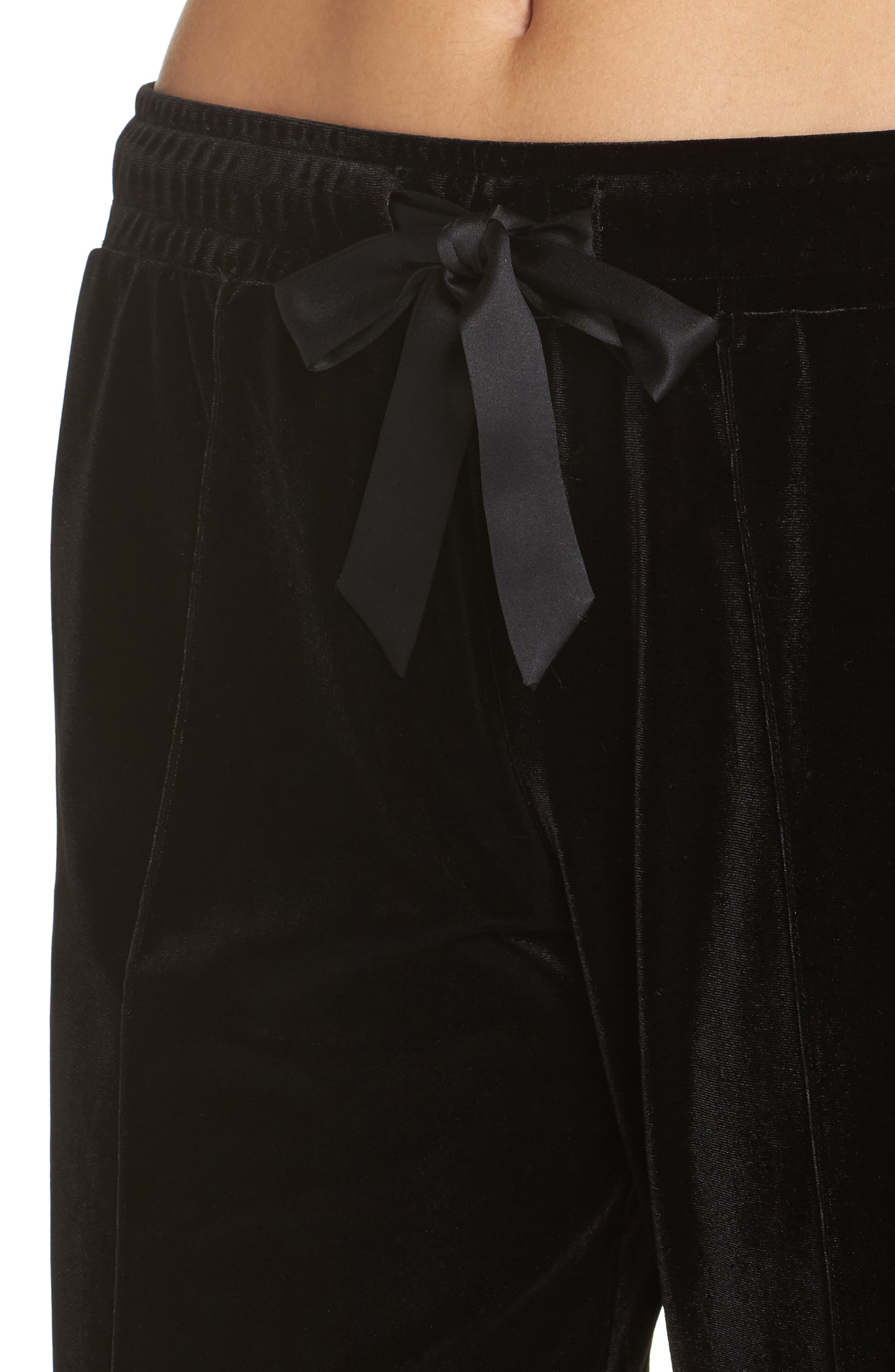 Dream Away Velour Lounge Pants,                             Alternate thumbnail 4, color,                             BLACK