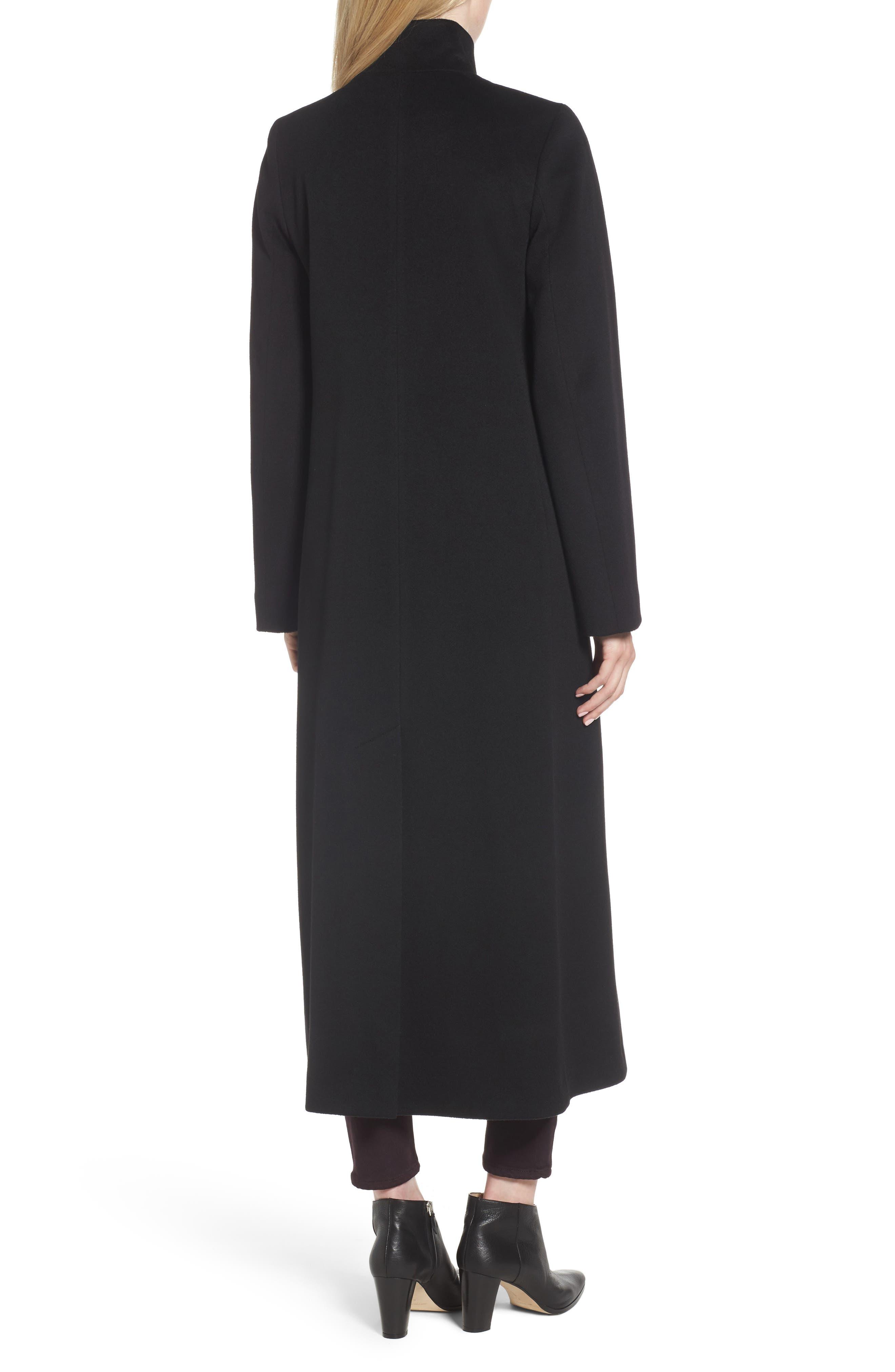 Long Wool Coat,                             Alternate thumbnail 3, color,                             001