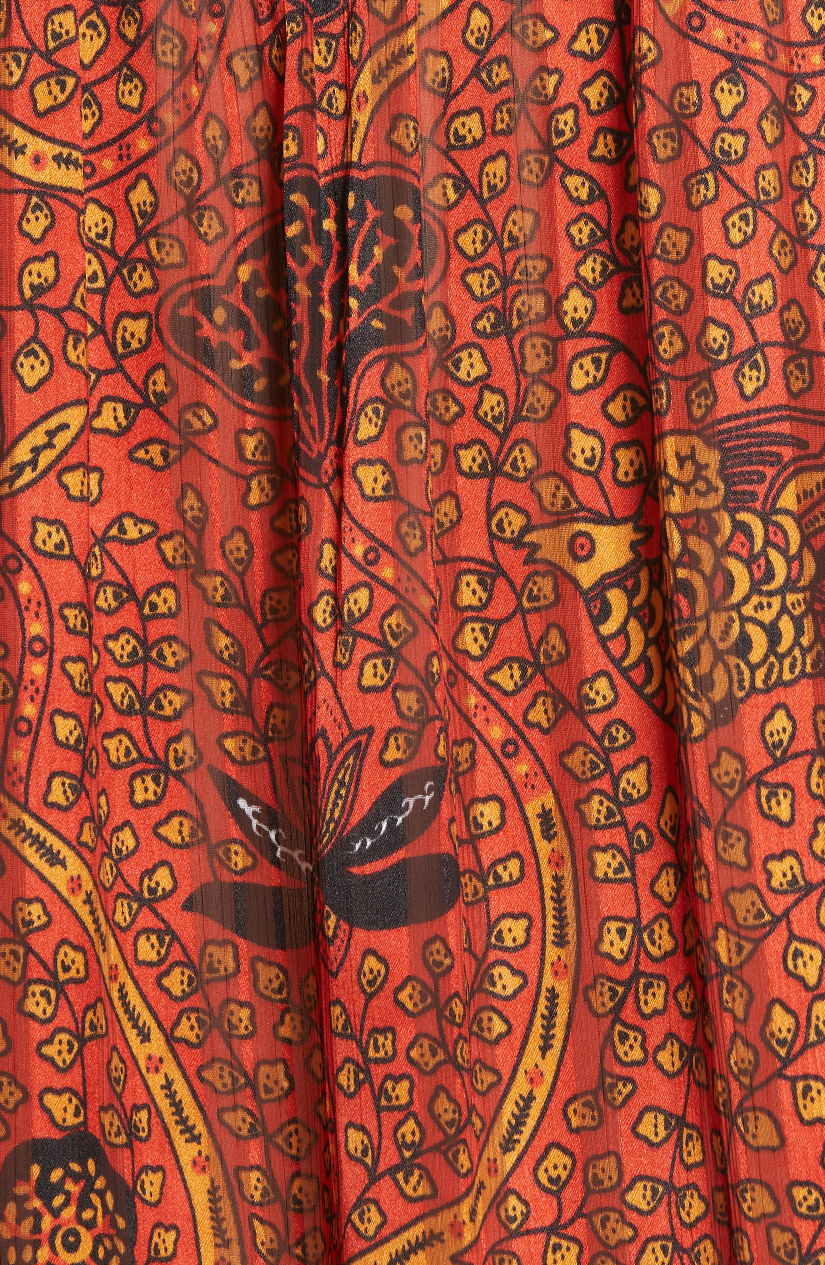 Danila Ruffle Collar Patterned Top,                             Alternate thumbnail 5, color,                             RED