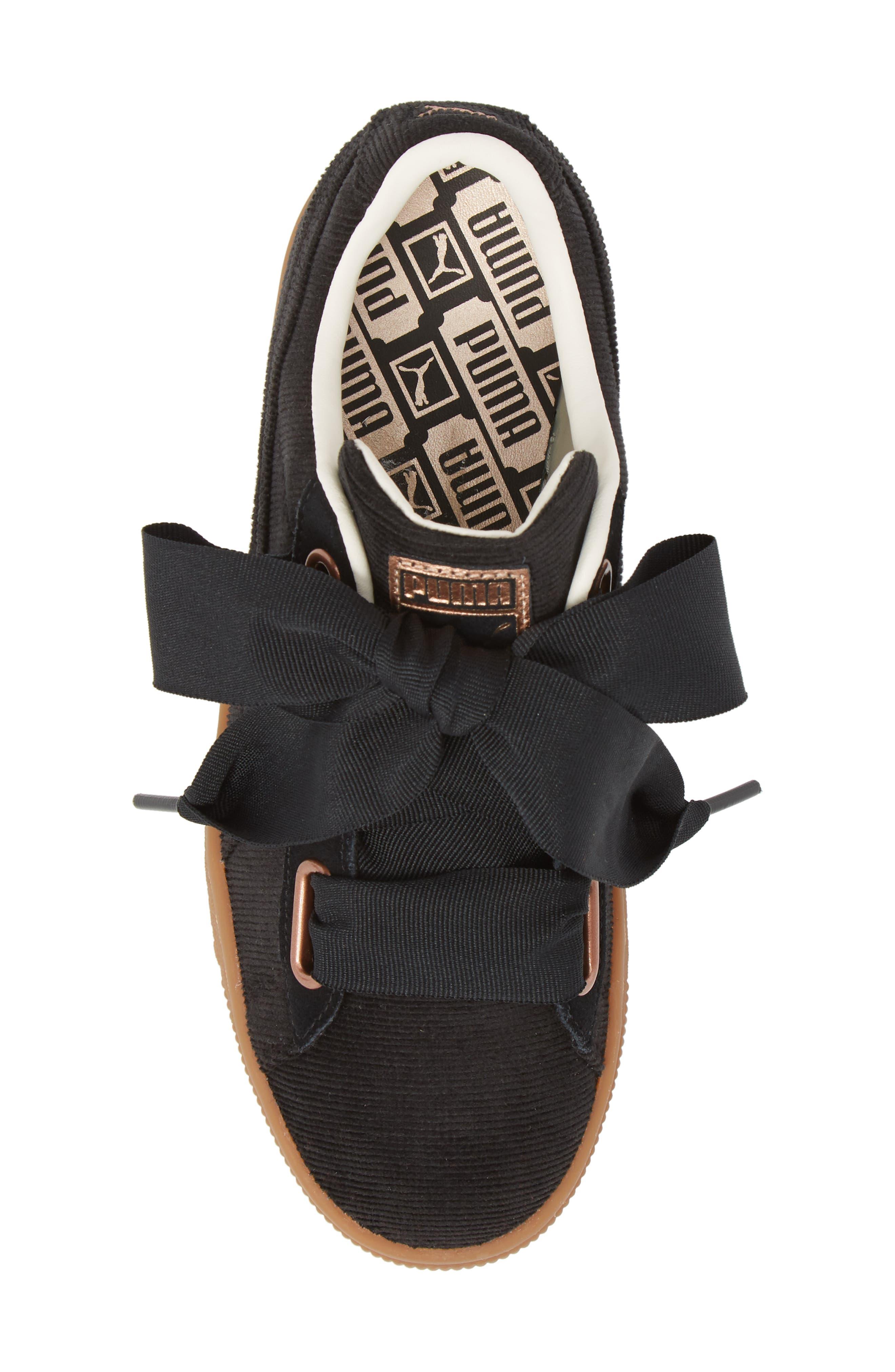 Basket Heart Sneaker,                             Alternate thumbnail 5, color,                             BLACK/ PUMA BLACK