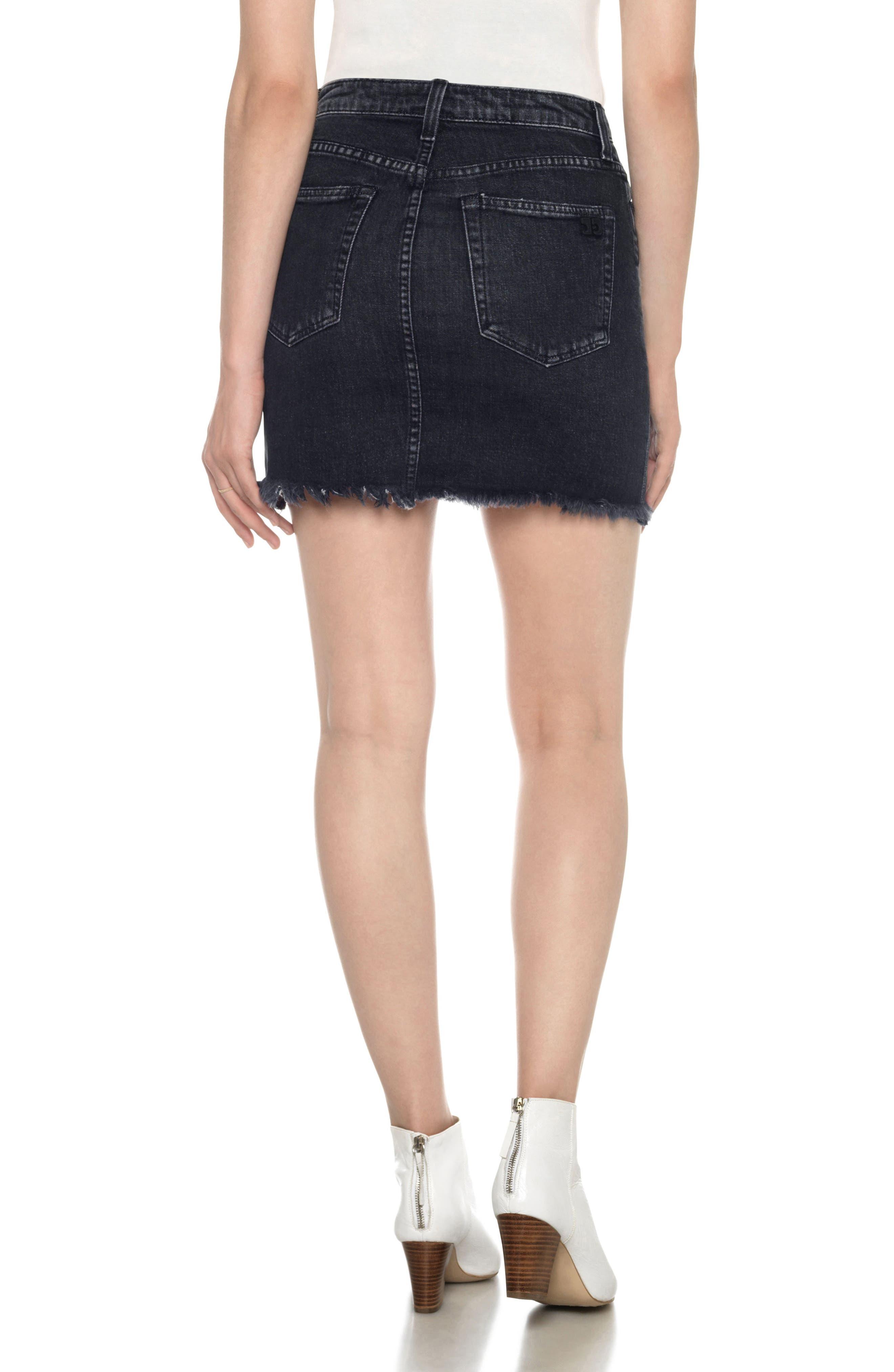 Classics High Waist Cutoff Denim Miniskirt,                             Alternate thumbnail 2, color,                             011