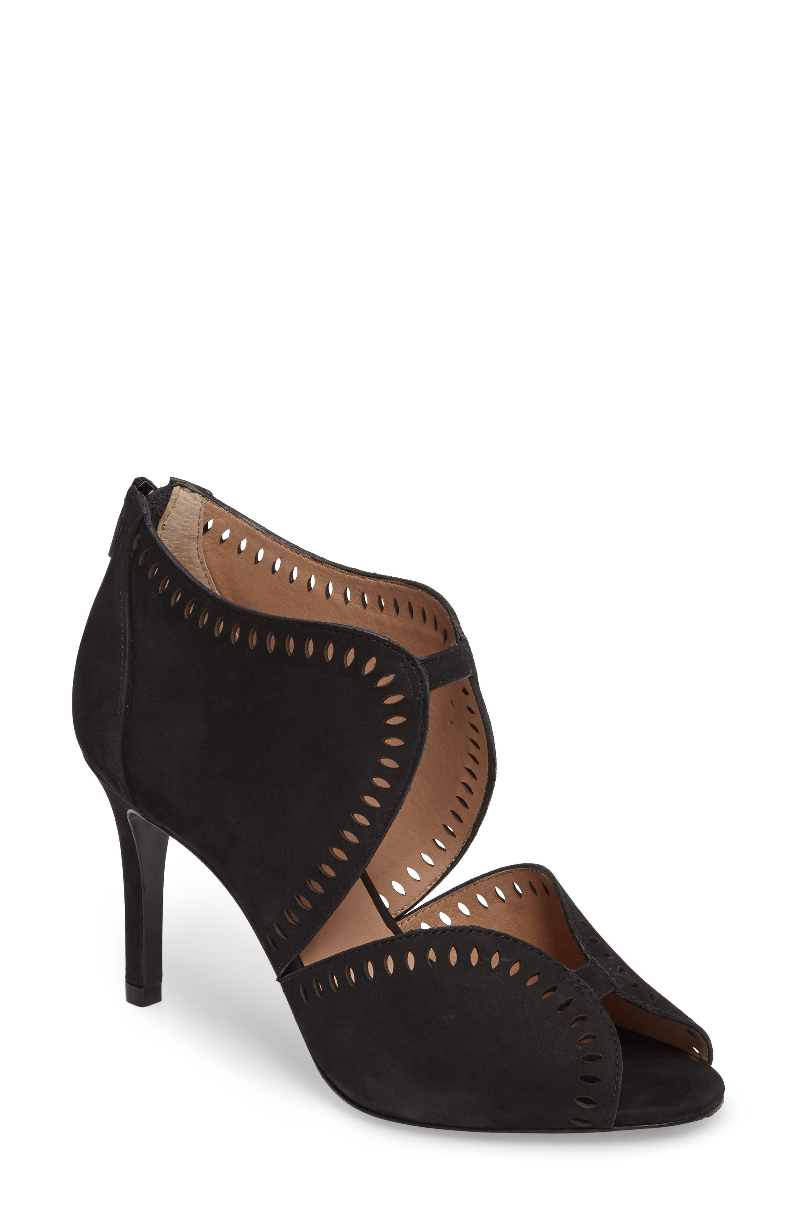 Mallia Perforated Sandal,                             Main thumbnail 1, color,                             001