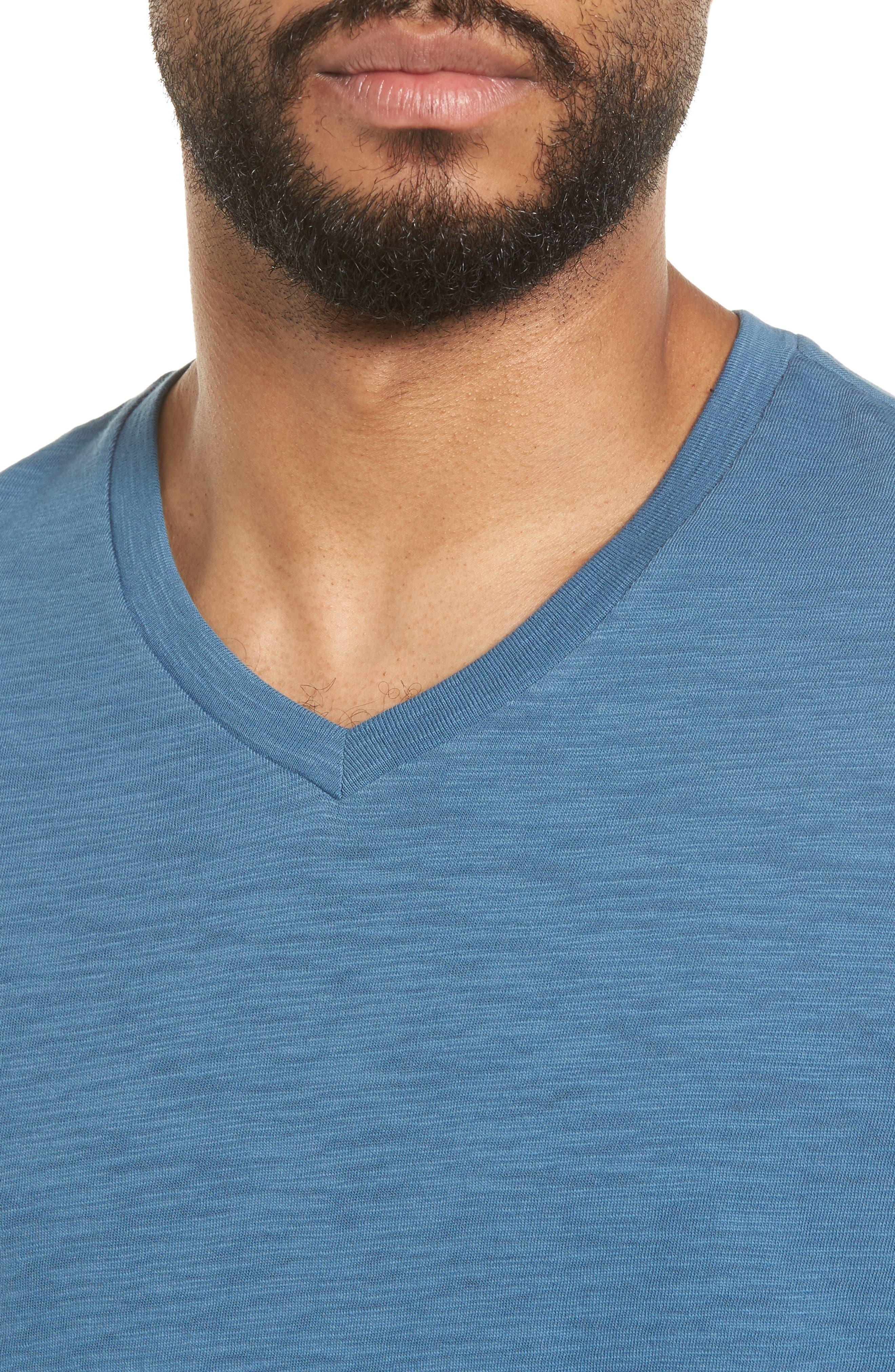 Slim Fit Slub V-Neck T-Shirt,                             Alternate thumbnail 7, color,