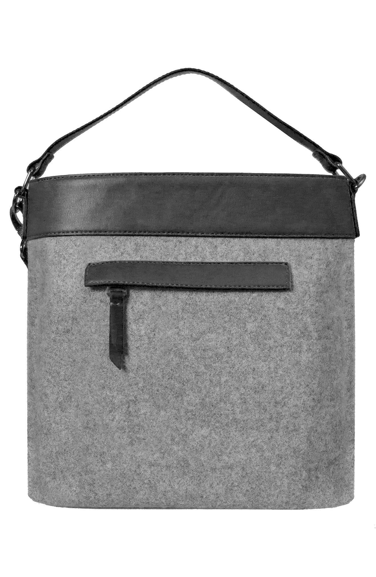 Boheme Wool & Leather Convertible Crossbody Bag,                             Alternate thumbnail 5, color,