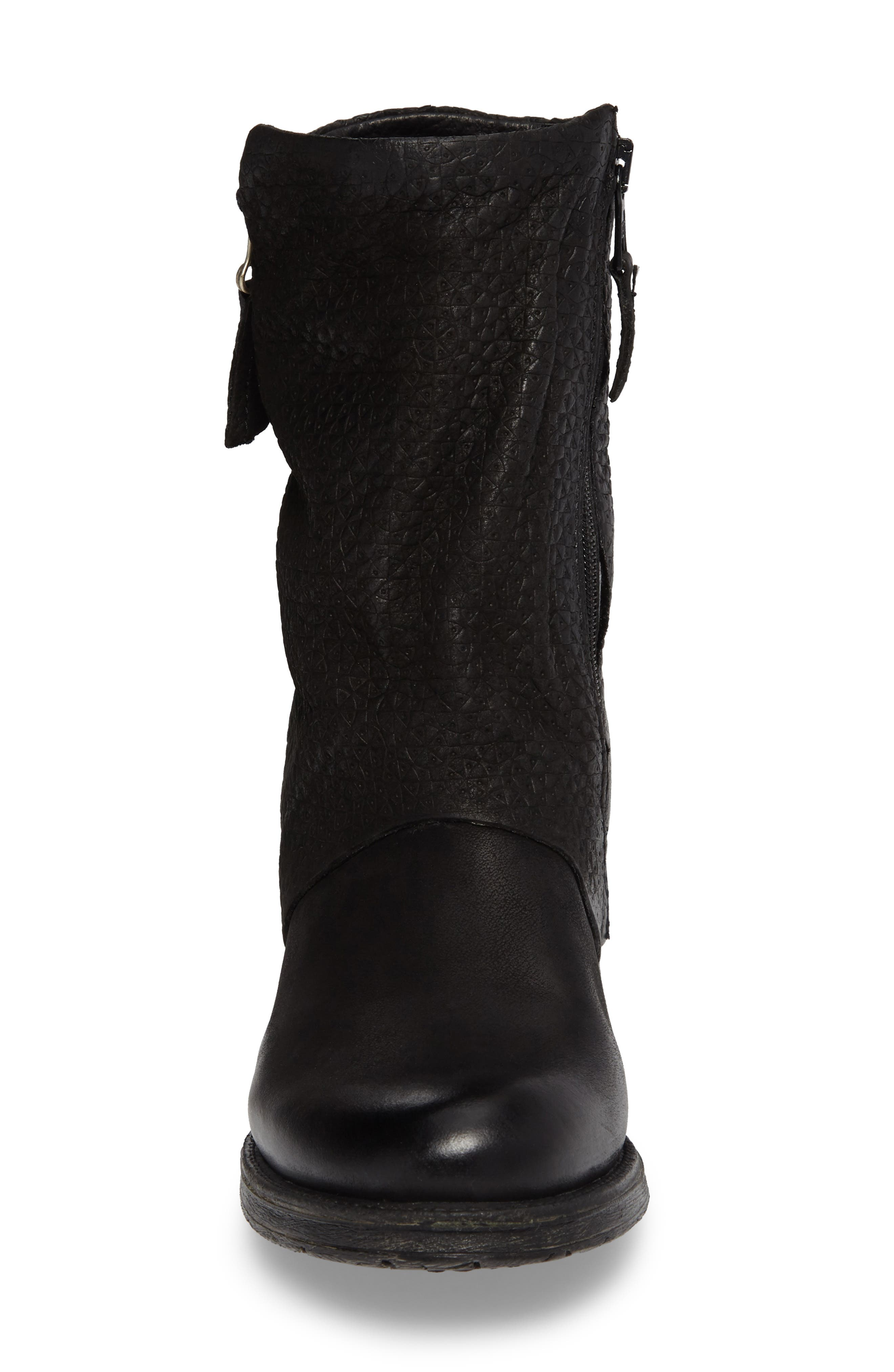 Nugget Asymmetrical Textured Boot,                             Alternate thumbnail 4, color,                             001