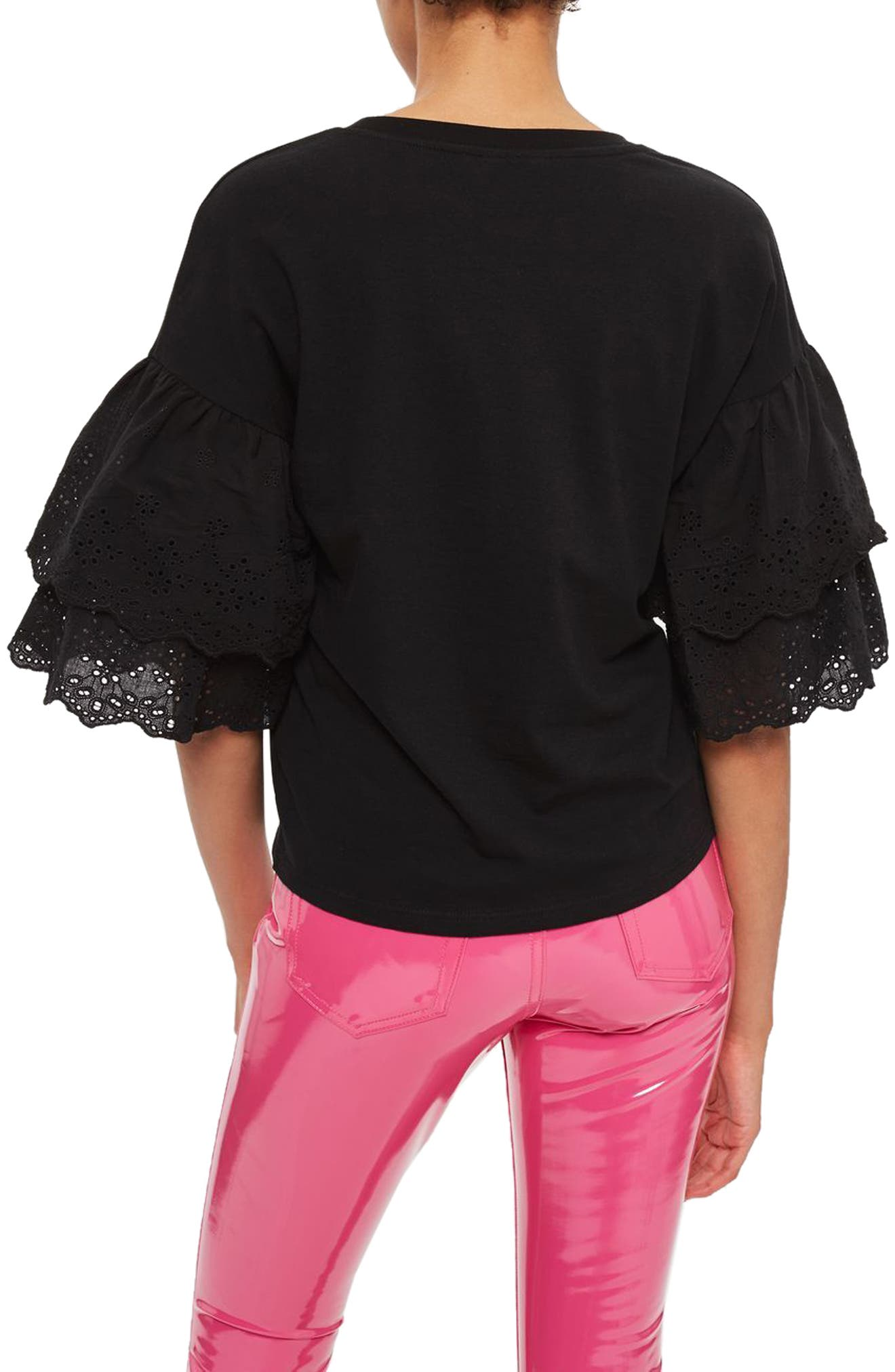 Eyelet Layer Sleeve Tee T-Shirt,                             Alternate thumbnail 2, color,                             001