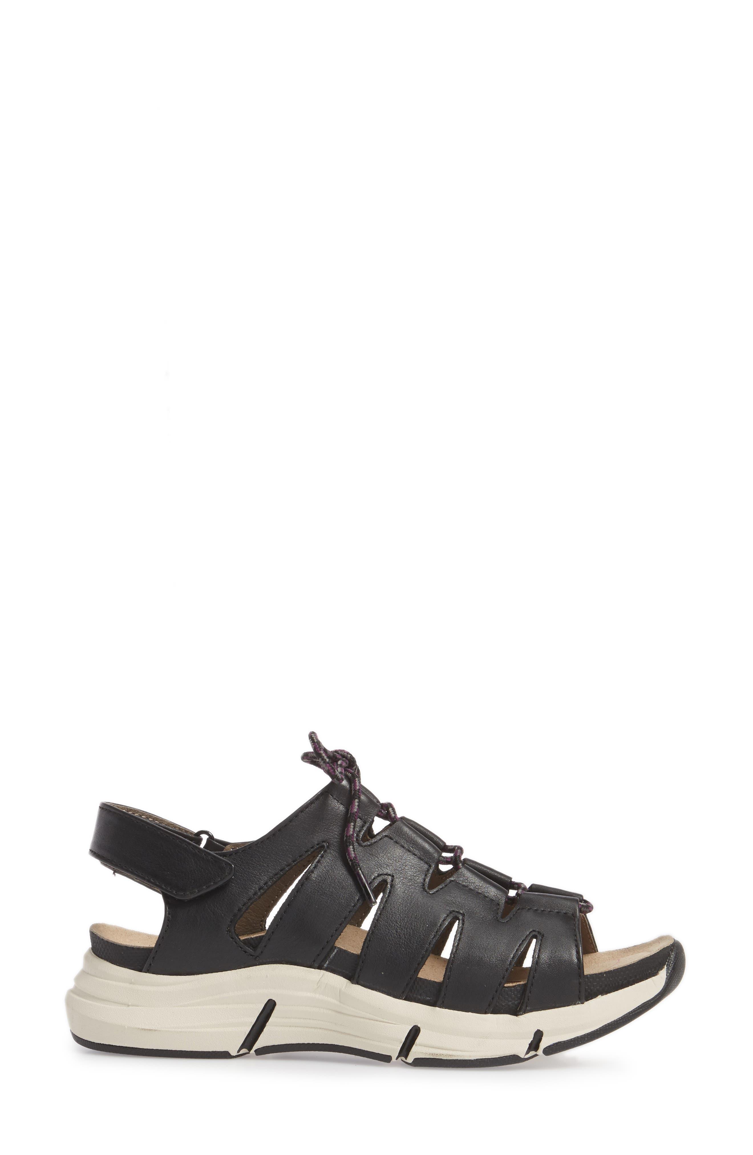 BIONICA,                             Olanda Ghillie Slingback Sandal,                             Alternate thumbnail 3, color,                             BLACK LEATHER
