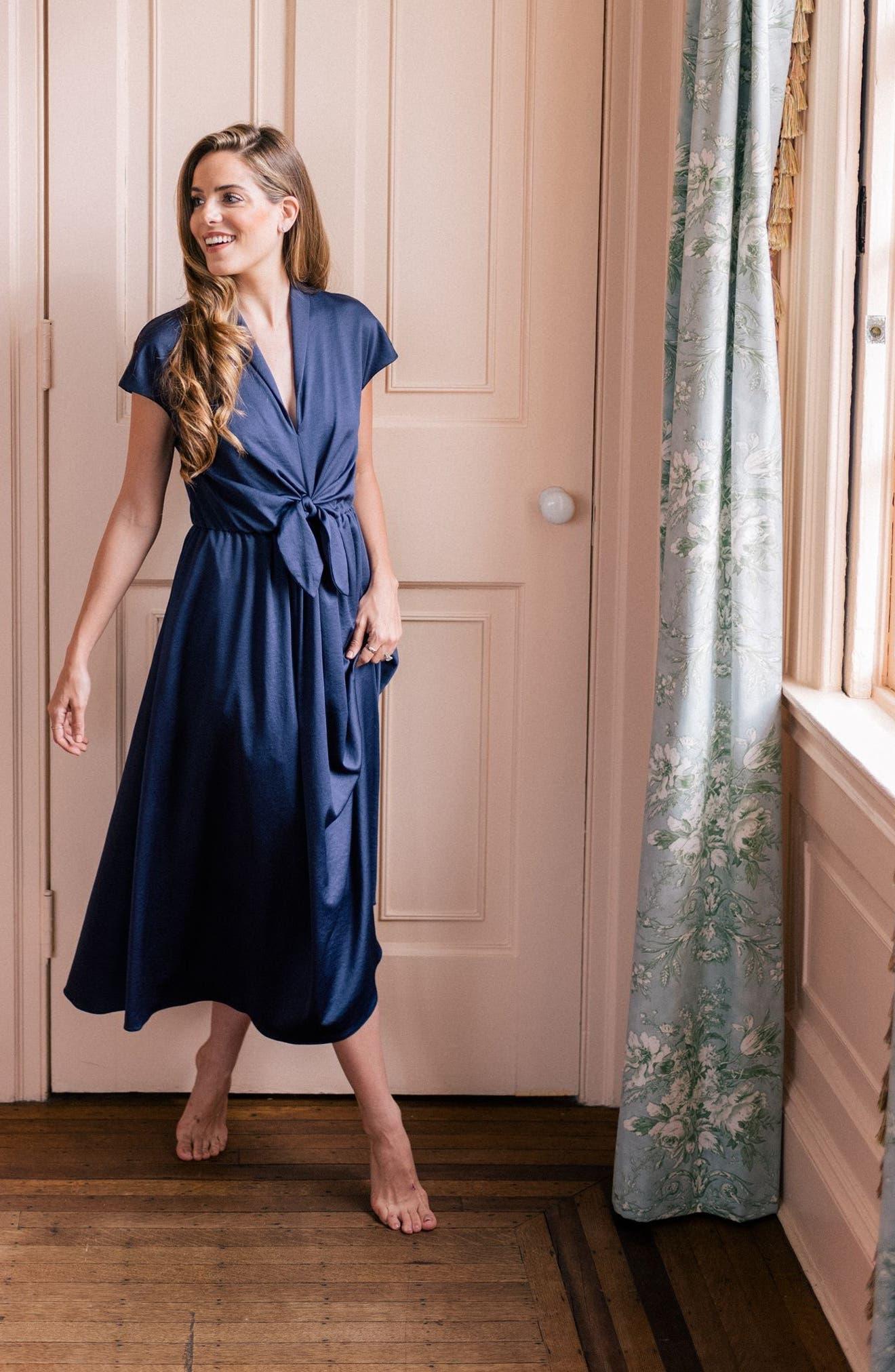 Margie Tie Waist Satin Midi Dress,                             Alternate thumbnail 8, color,                             462