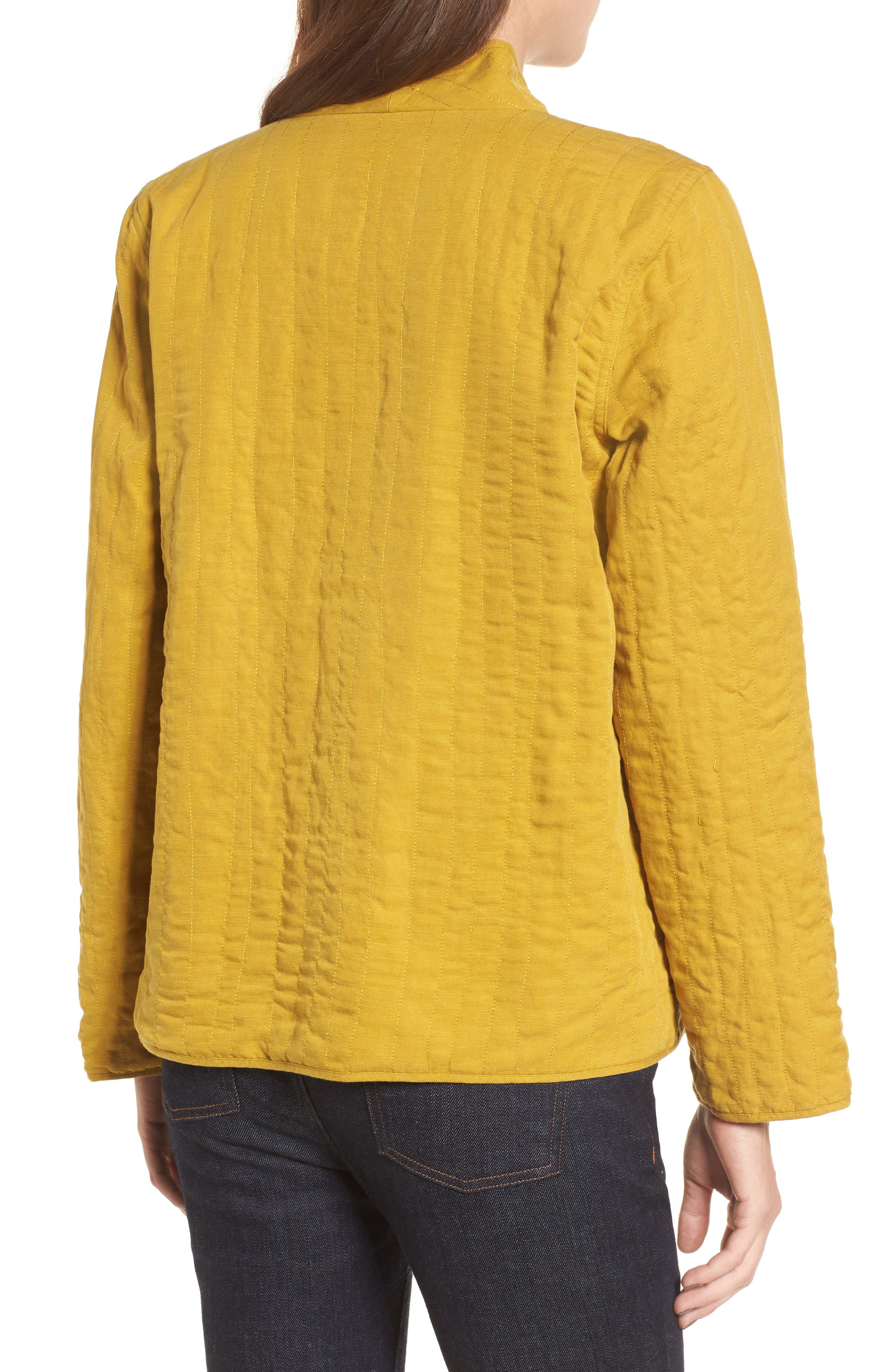 High Collar Quilted Jacket,                             Alternate thumbnail 6, color,