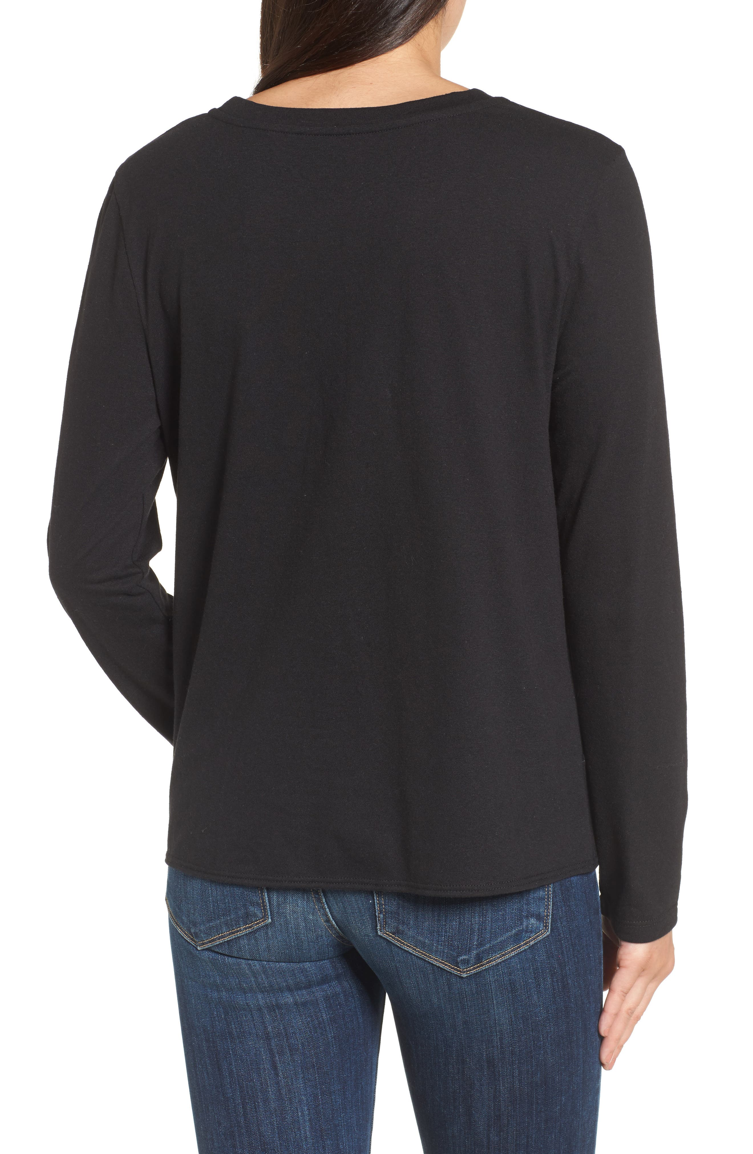 Long Sleeve Front Knot Tee,                             Alternate thumbnail 2, color,                             BLACK