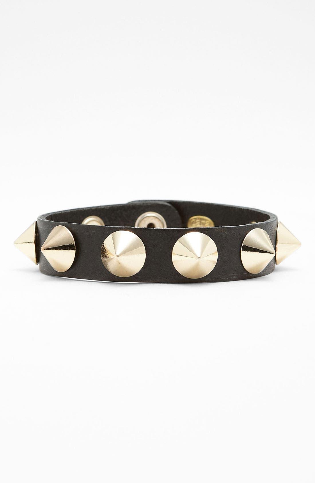 Studded Leather Bracelet,                             Main thumbnail 2, color,