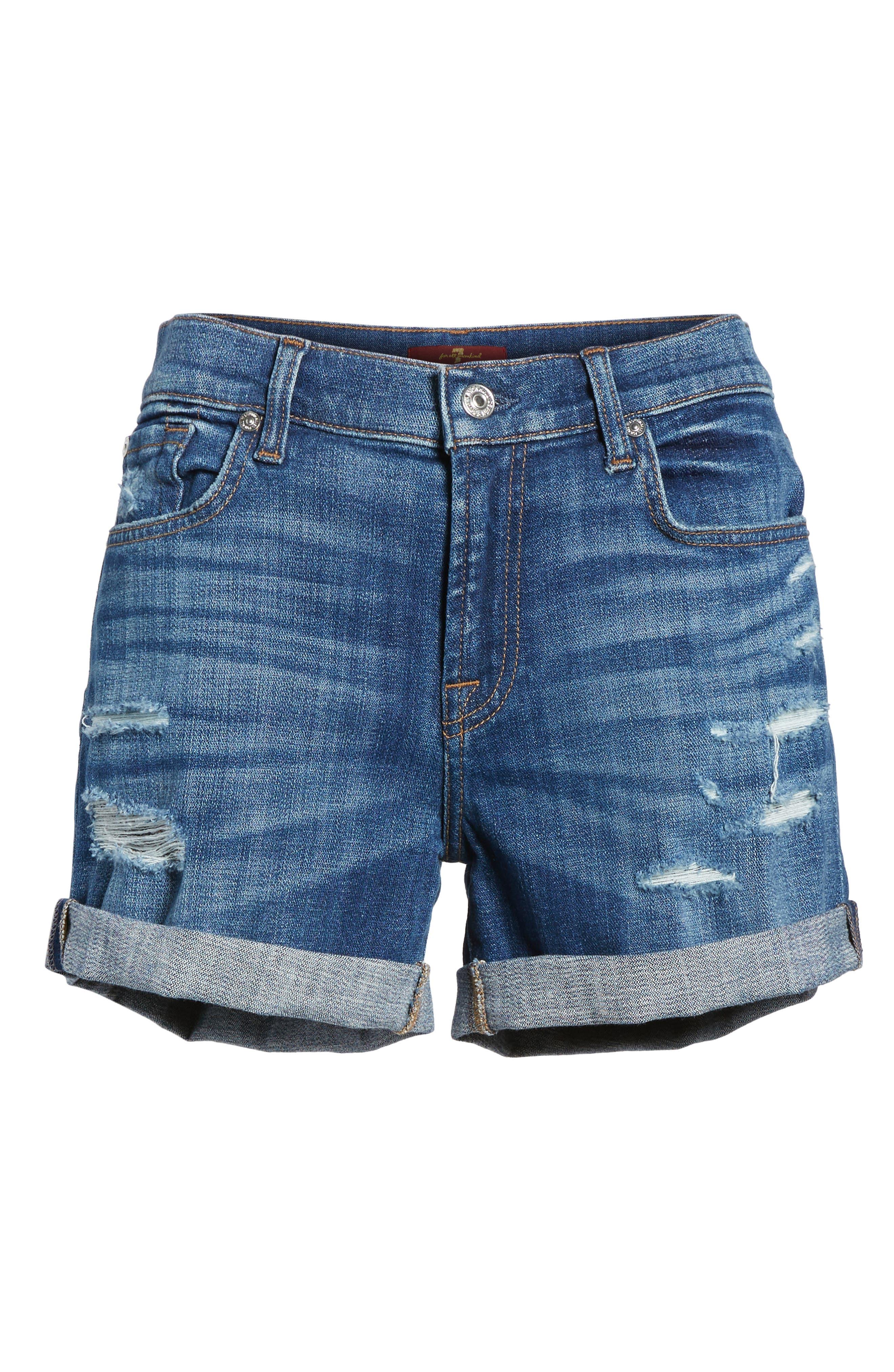 Roll Cuff Denim Shorts,                             Alternate thumbnail 13, color,