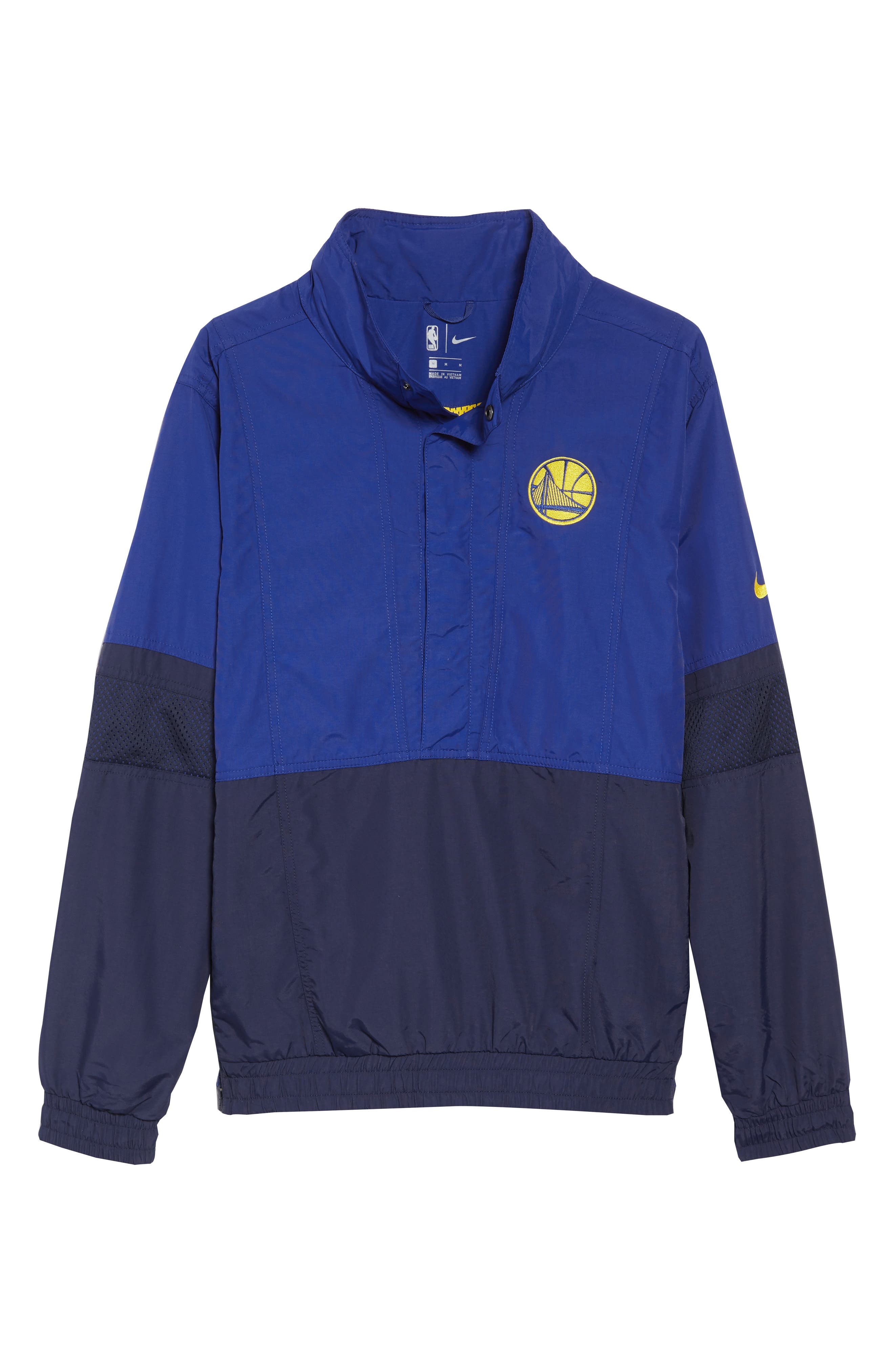 Golden State Warriors Courtside Warm-Up Jacket,                             Alternate thumbnail 6, color,                             RUSH BLUE/ NAVY/ AMARILLO