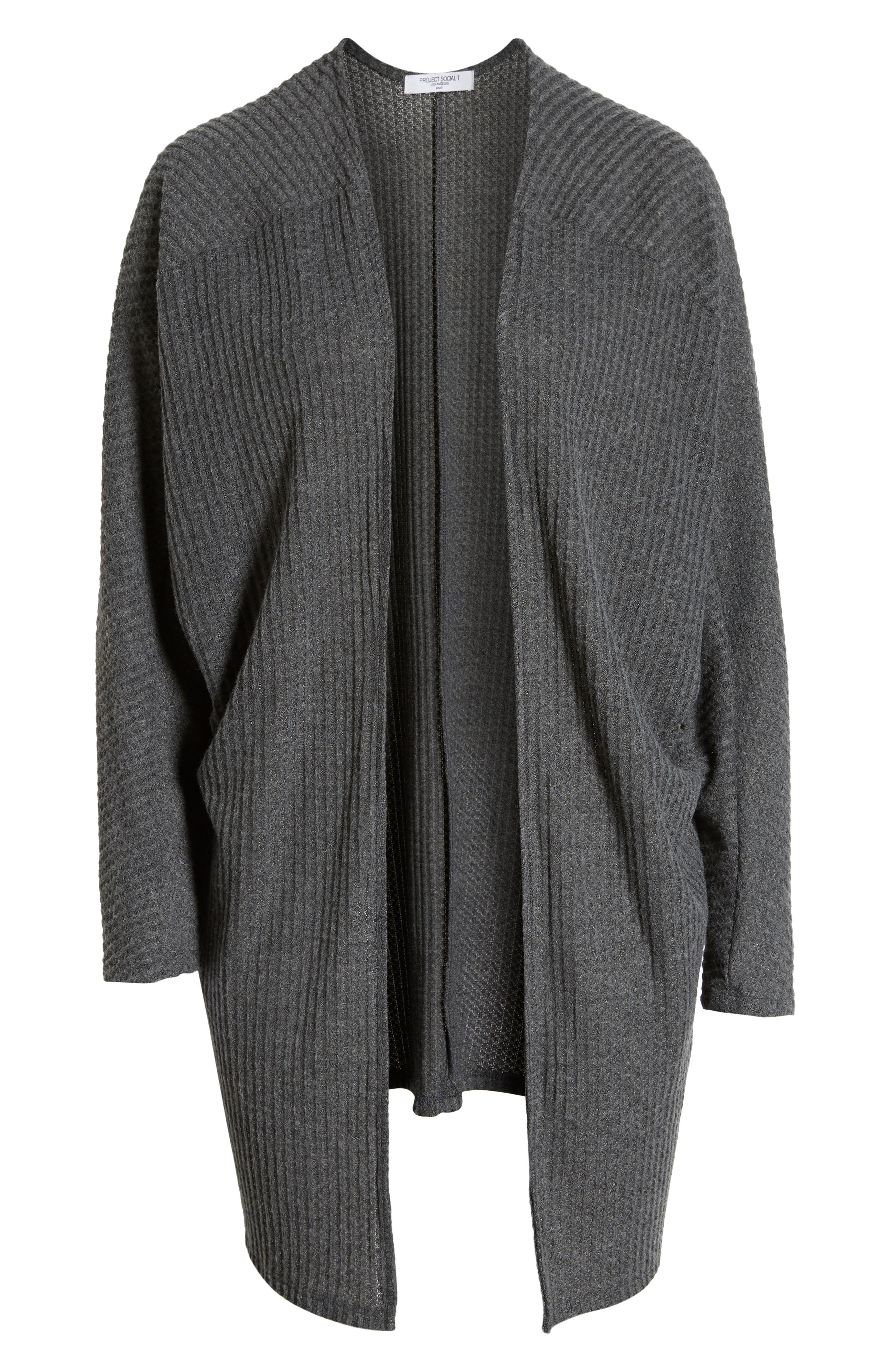 Keep It Casual Thermal Cardigan,                             Alternate thumbnail 6, color,                             CHARCOAL