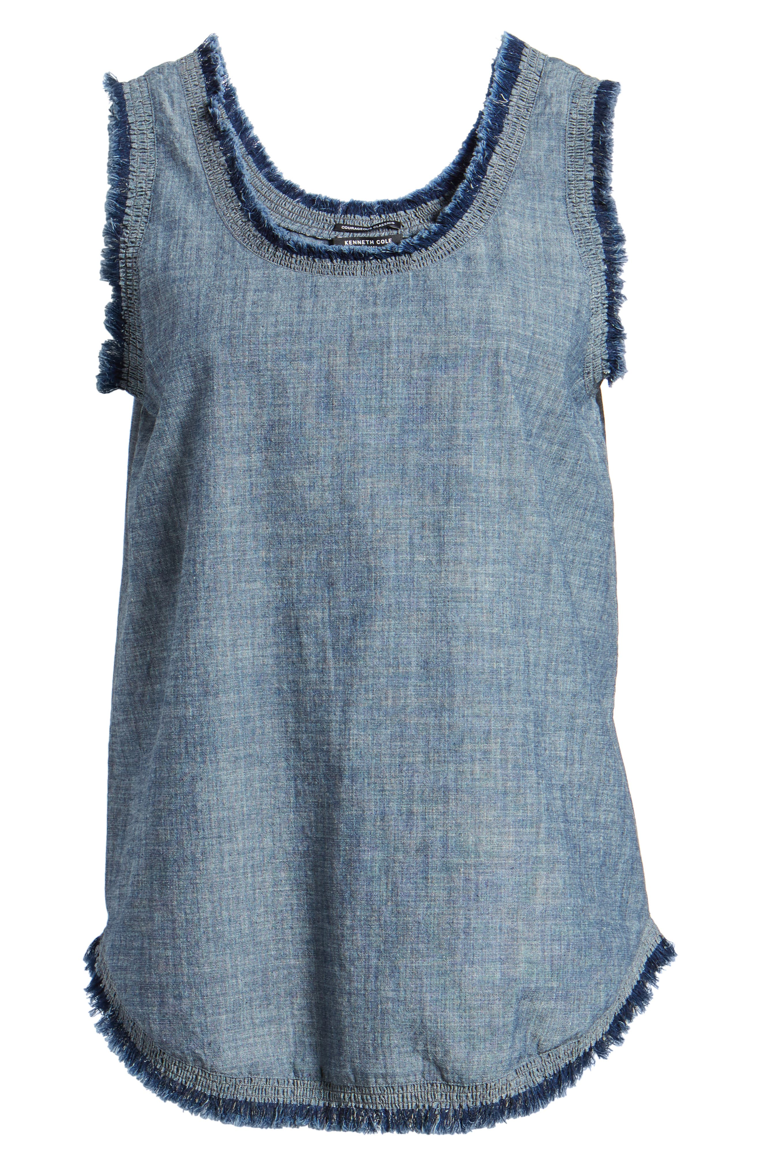 Frayed Chambray Tank,                             Alternate thumbnail 7, color,                             TEXTURED NAVY