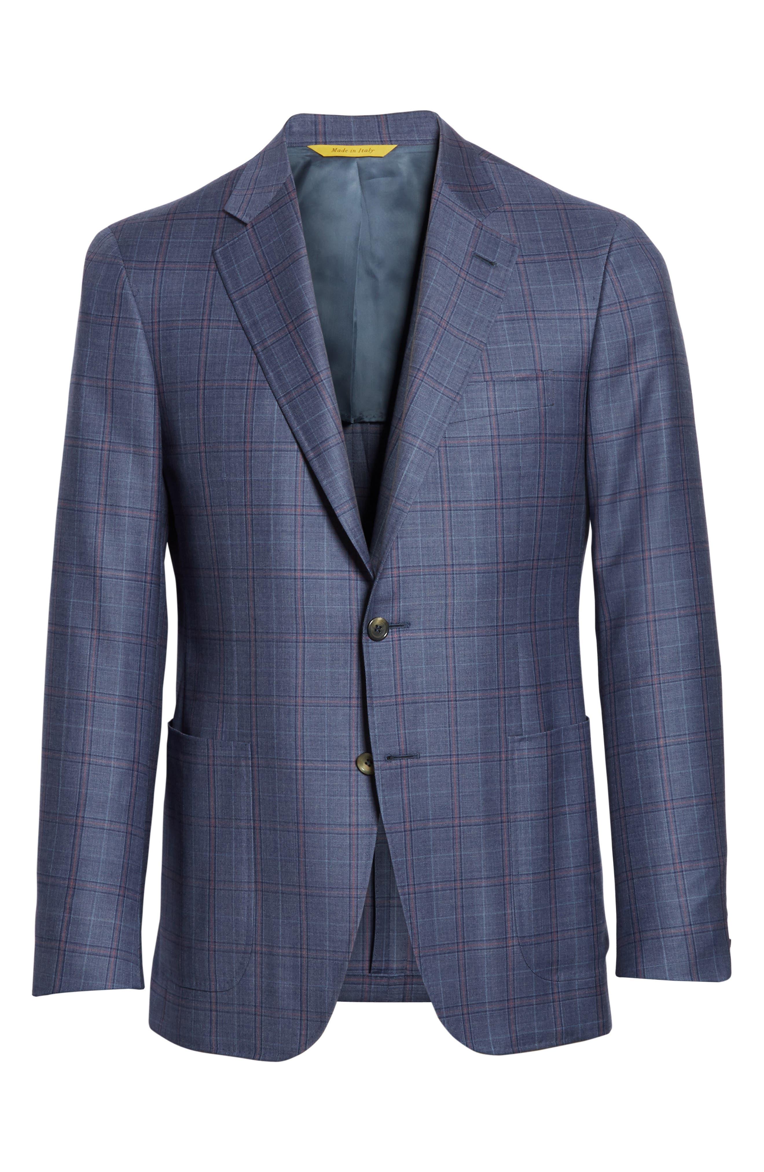 Classic Fit Plaid Wool Sport Coat,                             Alternate thumbnail 5, color,                             400