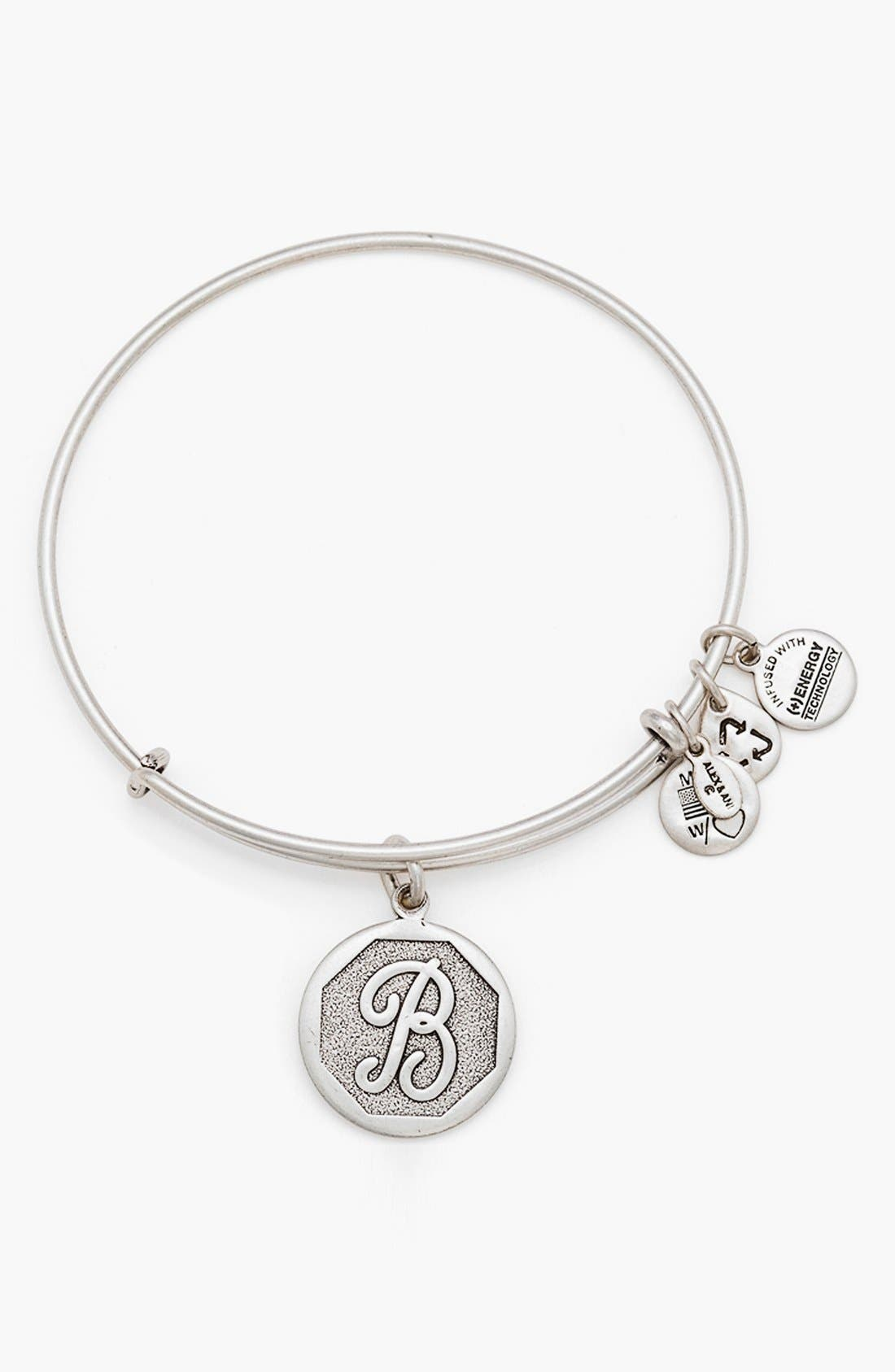 'Initial' Adjustable Wire Bangle,                             Main thumbnail 3, color,