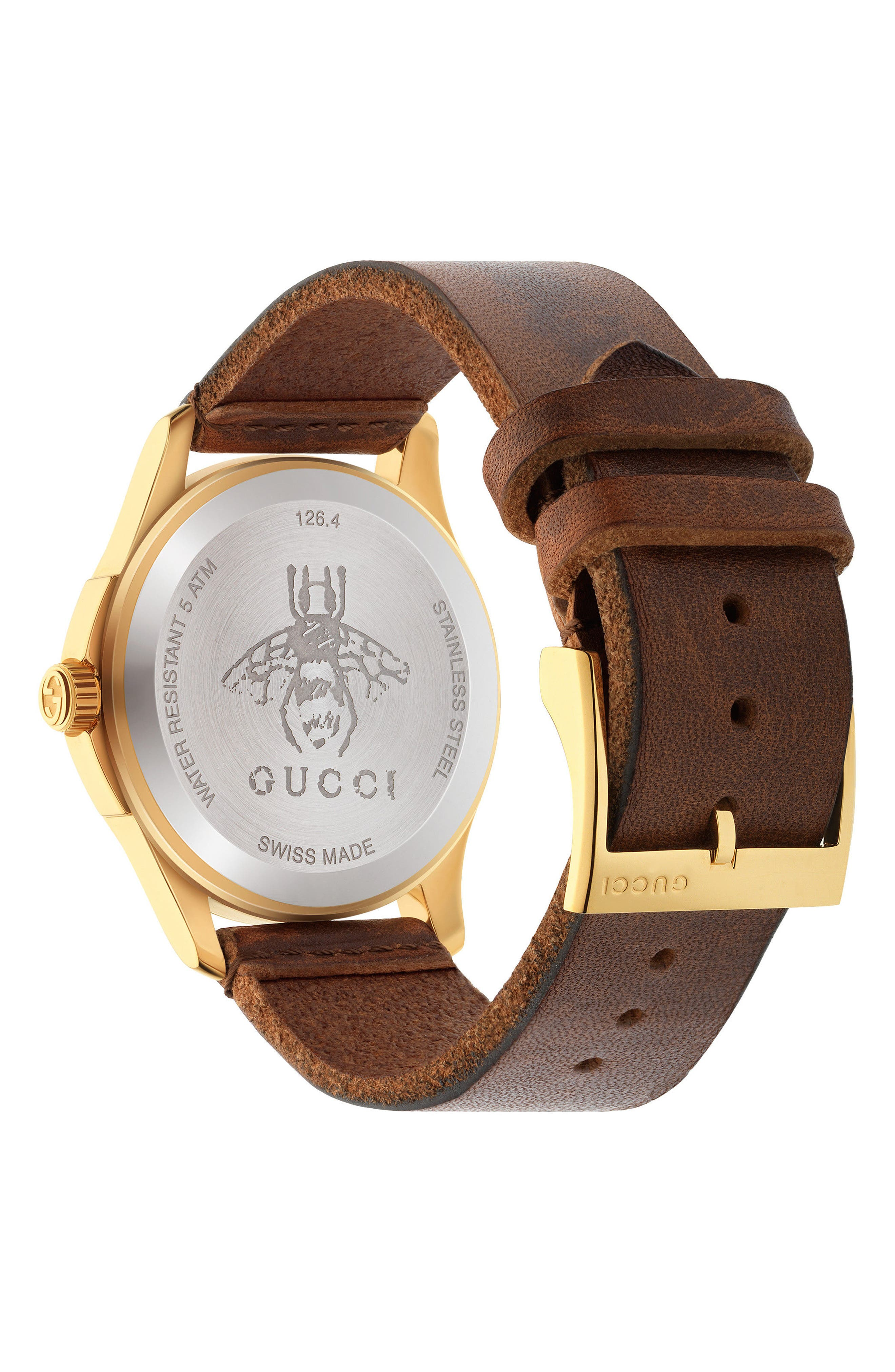 Snake Insignia Leather Strap Watch, 38mm,                             Alternate thumbnail 2, color,                             BROWN