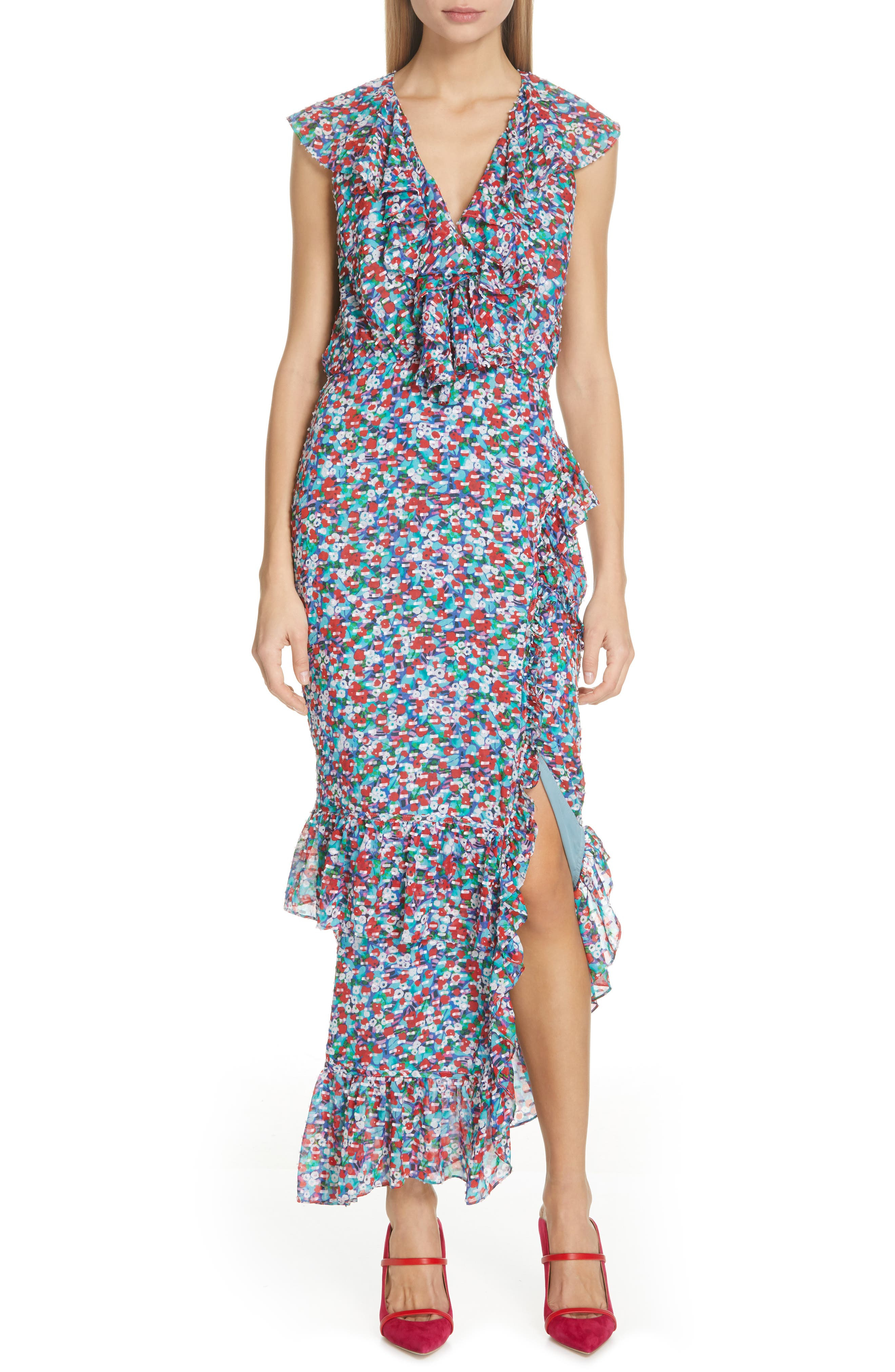Saloni Anita Ruffle Trim Silk Burnout Dress, Blue