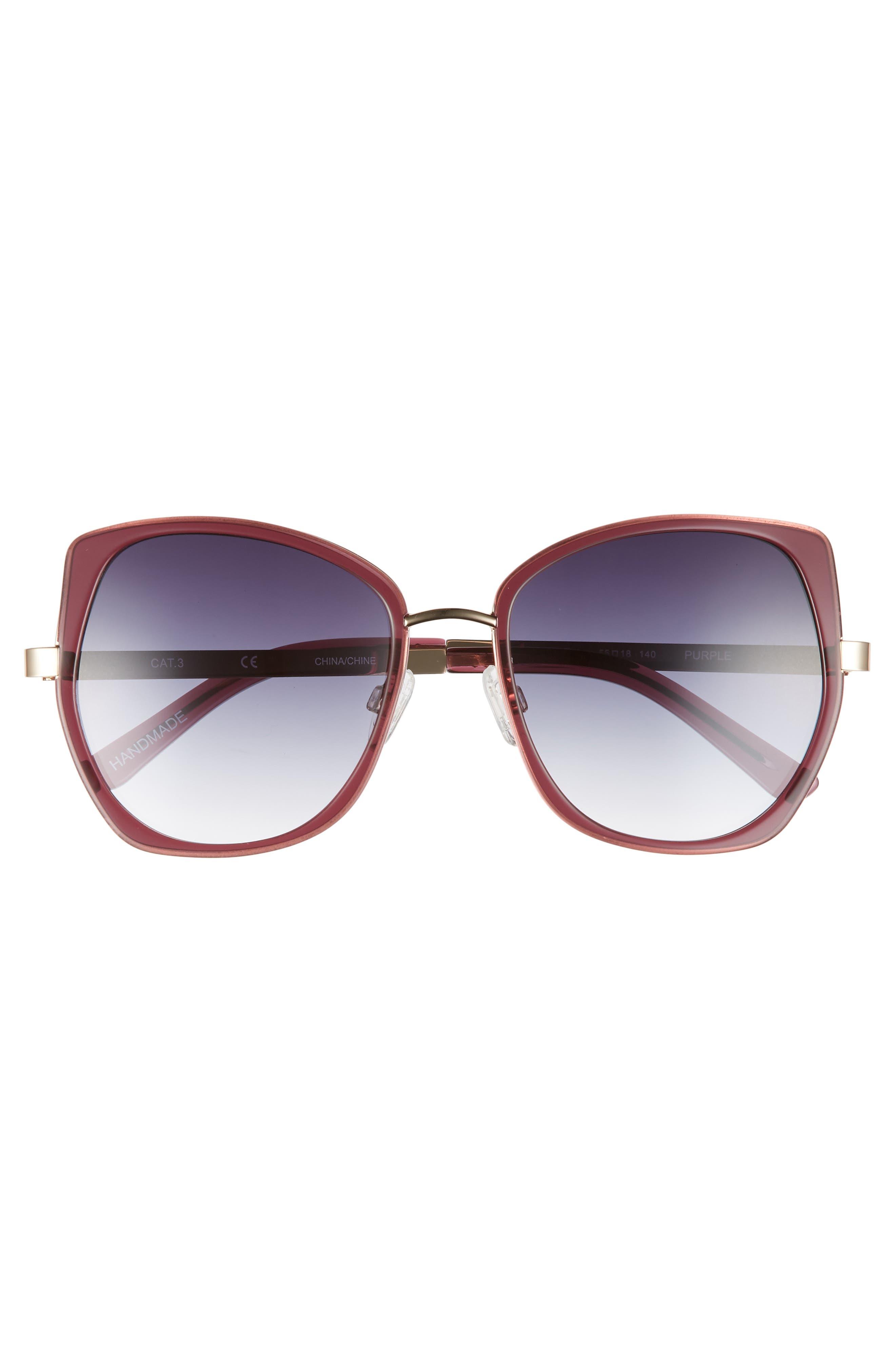 Ellie 55mm Sunglasses,                             Alternate thumbnail 3, color,                             MILKY GREY PURPLE