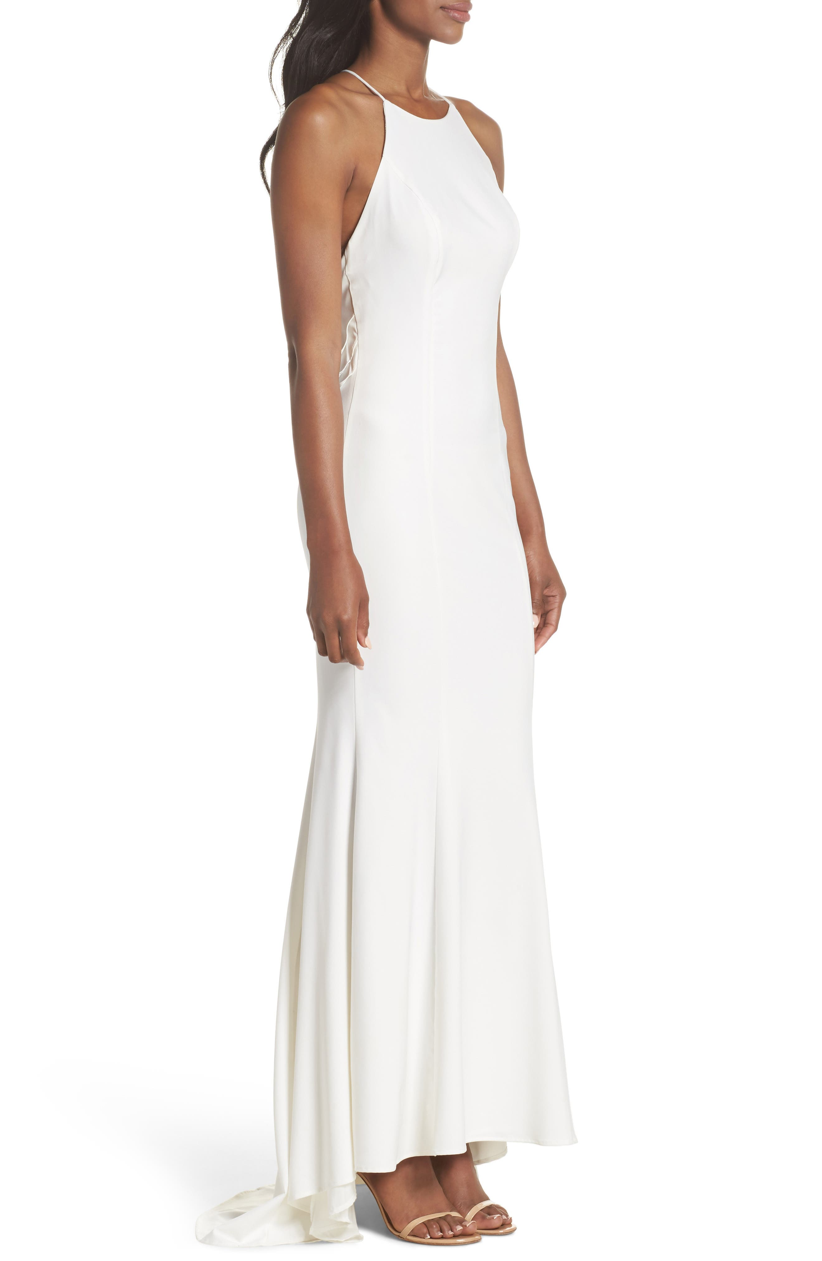 Zoe Ruffle Back Gown,                             Alternate thumbnail 3, color,                             100