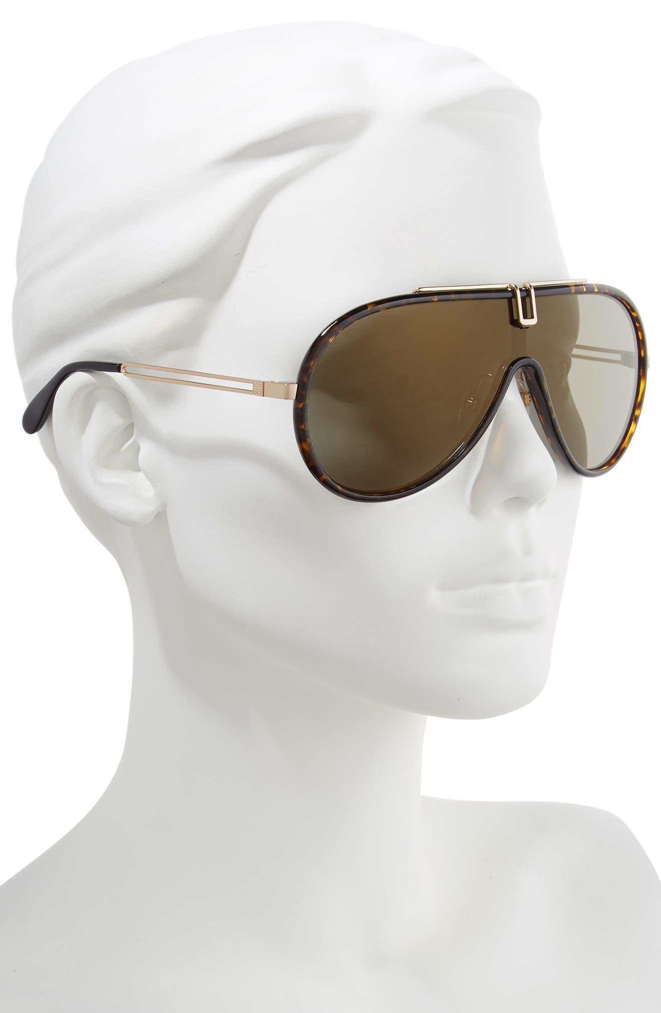 99mm Shield Sunglasses,                             Alternate thumbnail 2, color,                             DARK HAVANA
