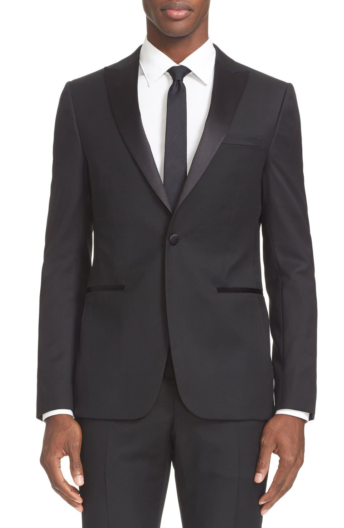 Trim Fit Wool & Mohair Tuxedo,                             Alternate thumbnail 4, color,