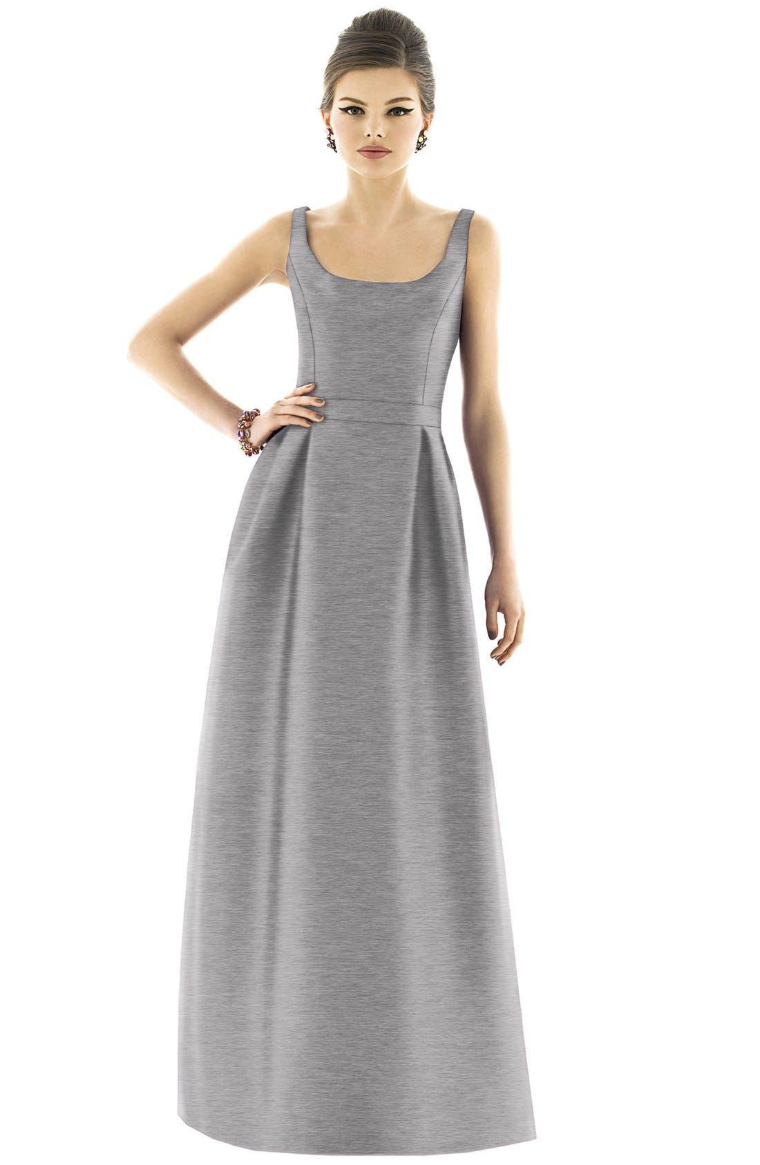 Scoop Neck Dupioni Full Length Dress,                             Main thumbnail 2, color,