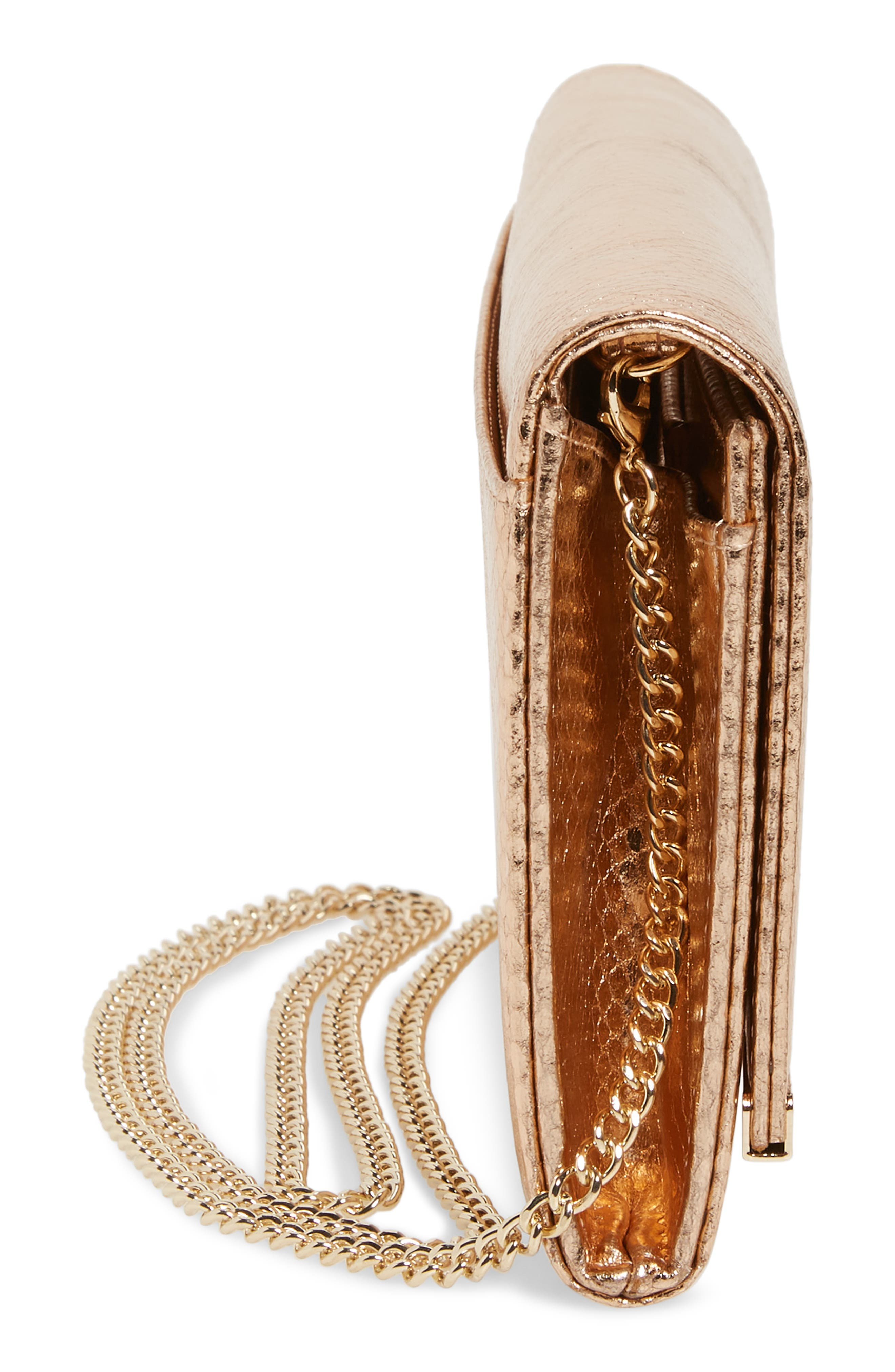 Metallic Snake-Embossed Faux Leather Bar Clutch,                             Alternate thumbnail 5, color,                             ROSE GOLD