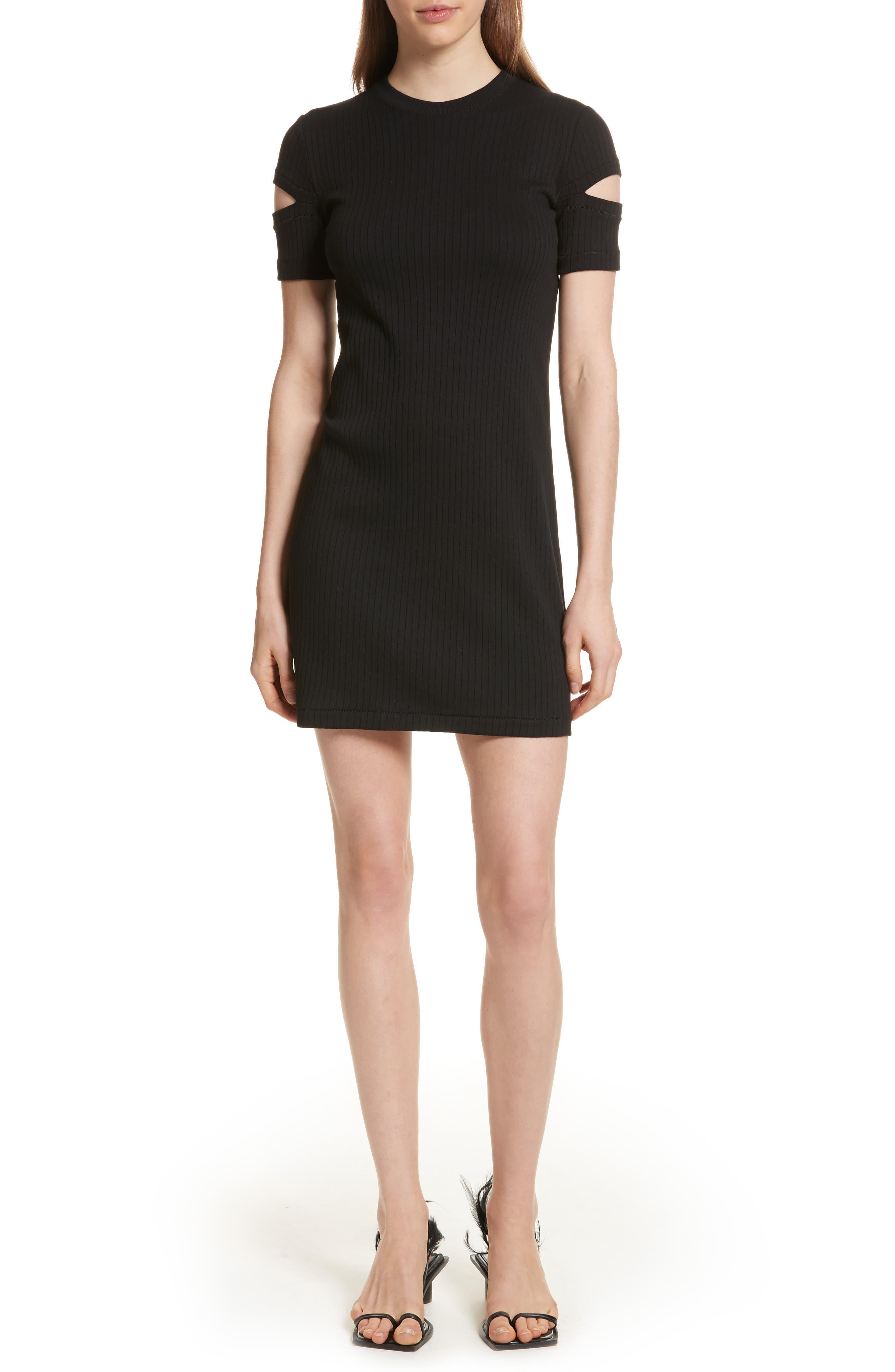 Helmut Lang Ribbed Slash Sleeve Dress, Black