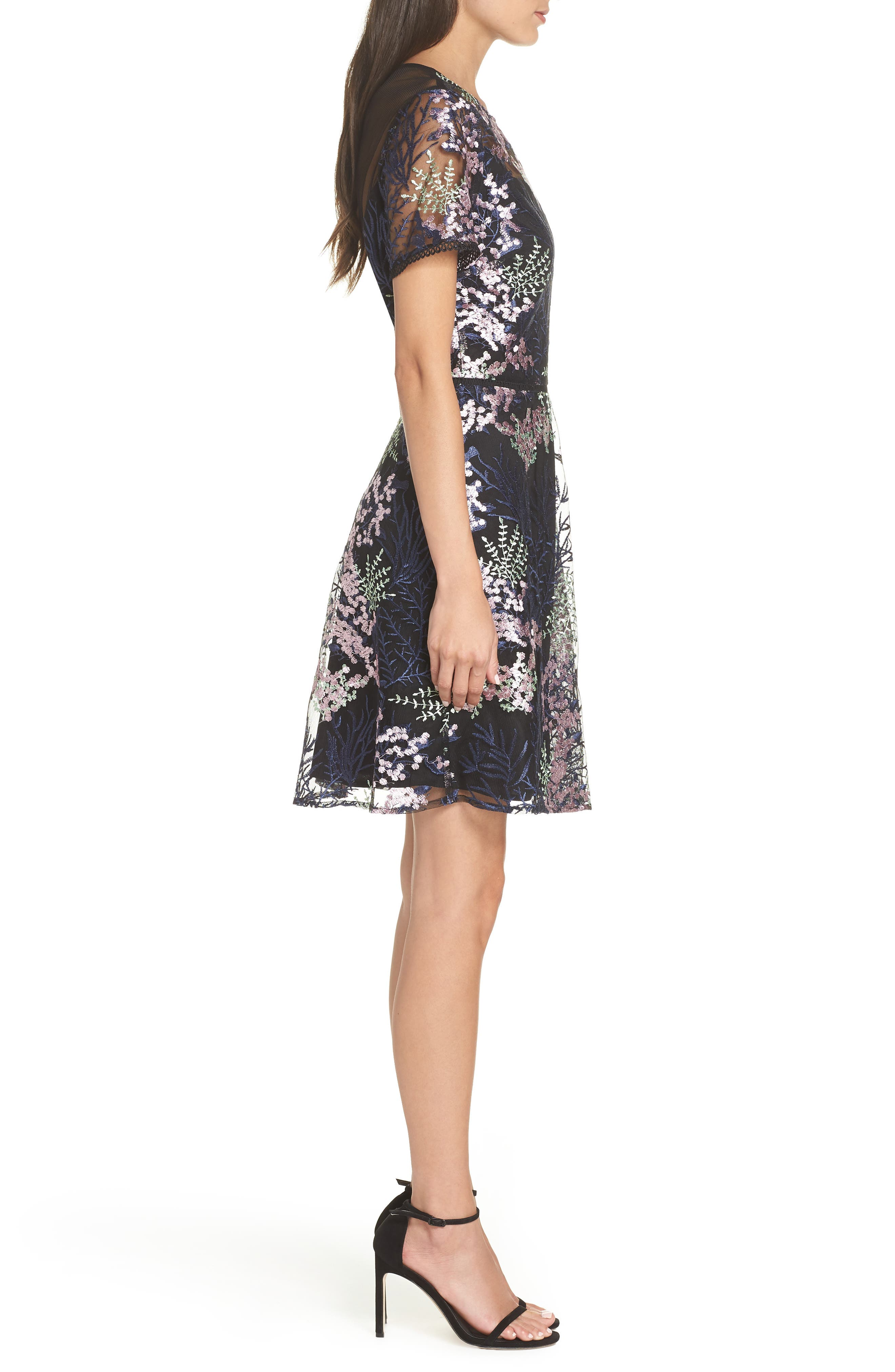Embroidered Lace A-Line Dress,                             Alternate thumbnail 3, color,                             BLACK FLOWY FLORAL