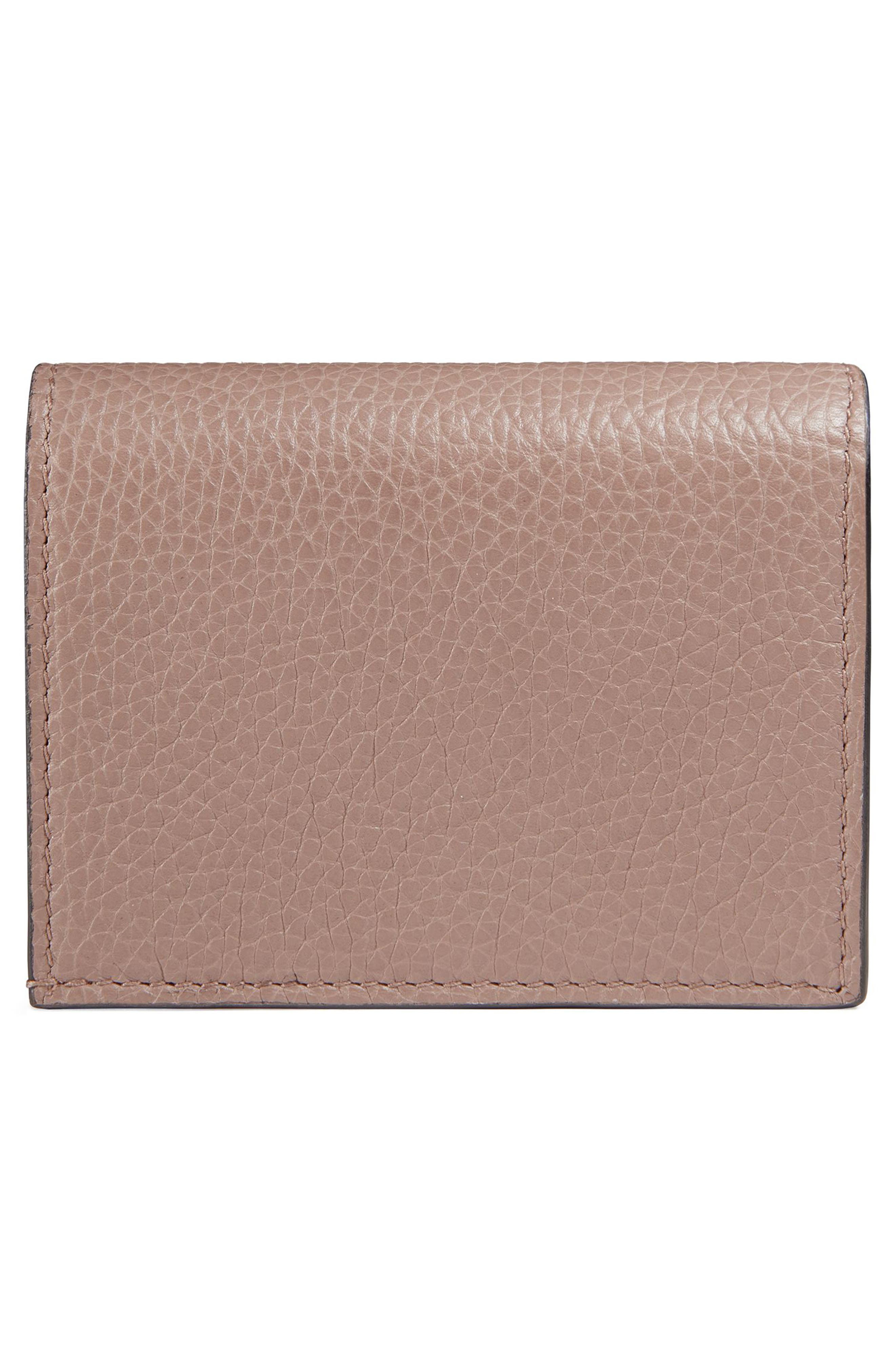 Animalier Bee Leather Card Case,                             Alternate thumbnail 3, color,                             PORCELAIN ROSE