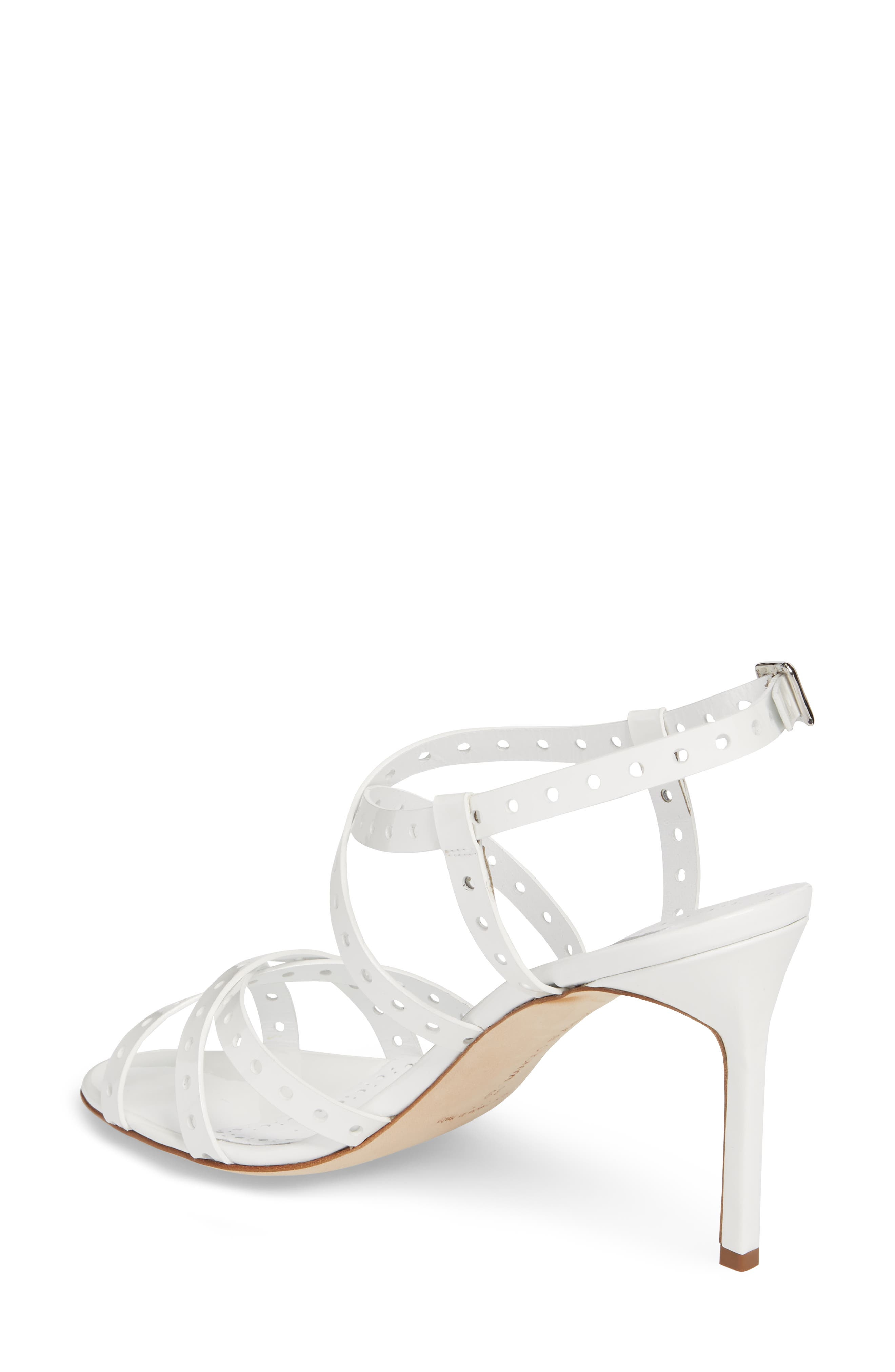 Demure Perforated Strappy Sandal,                             Alternate thumbnail 2, color,                             100