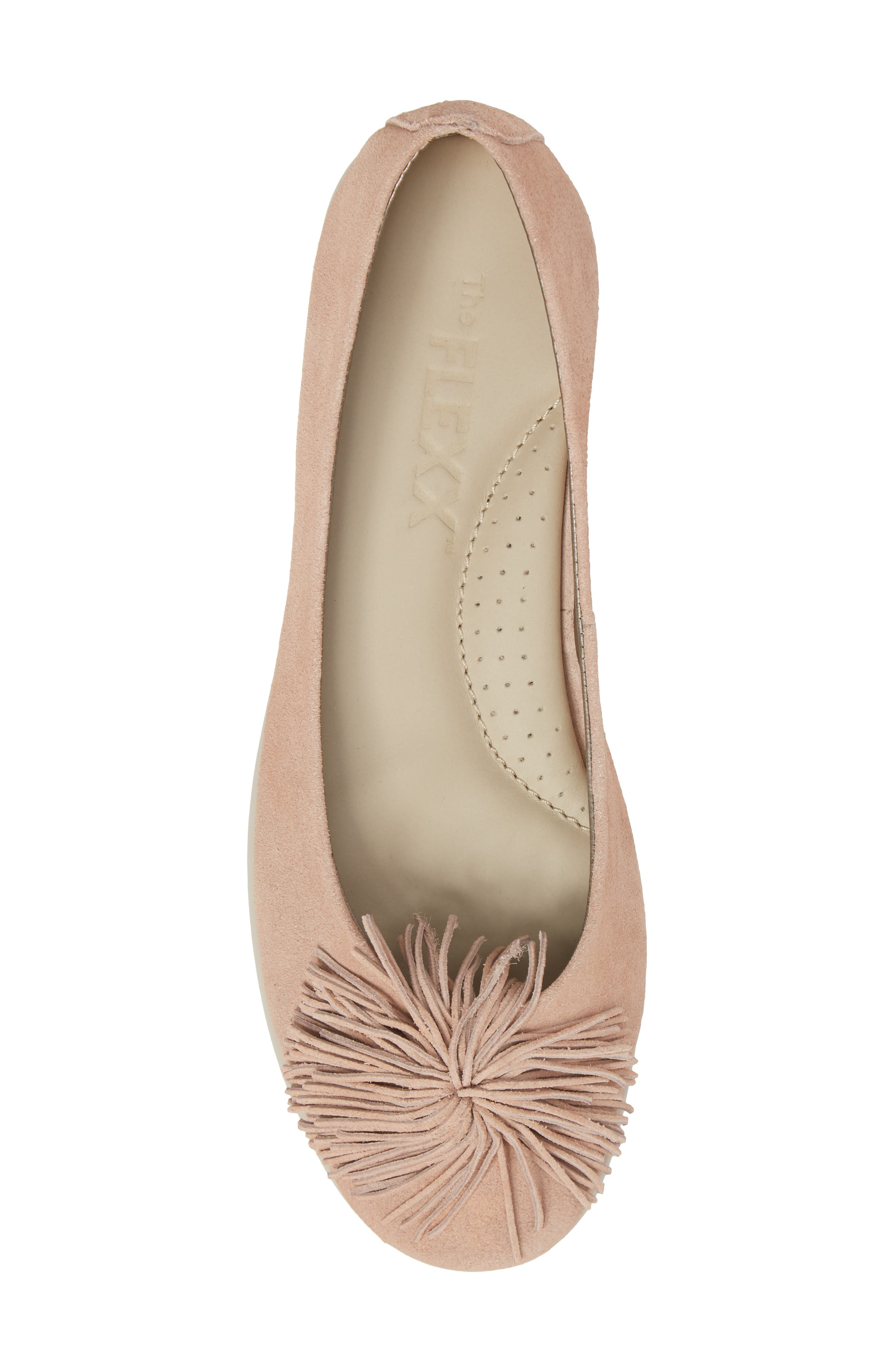 THE FLEXX,                             Pompom Flat,                             Alternate thumbnail 5, color,                             ROSE GOLD LEATHER