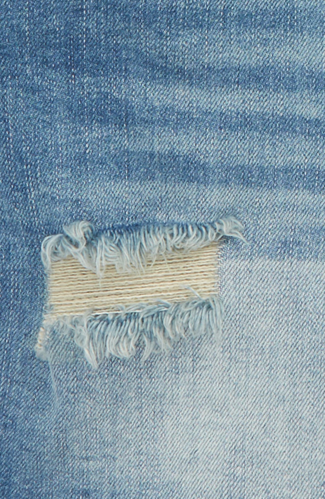 Distressed Denim Overall Shorts,                             Alternate thumbnail 3, color,                             420