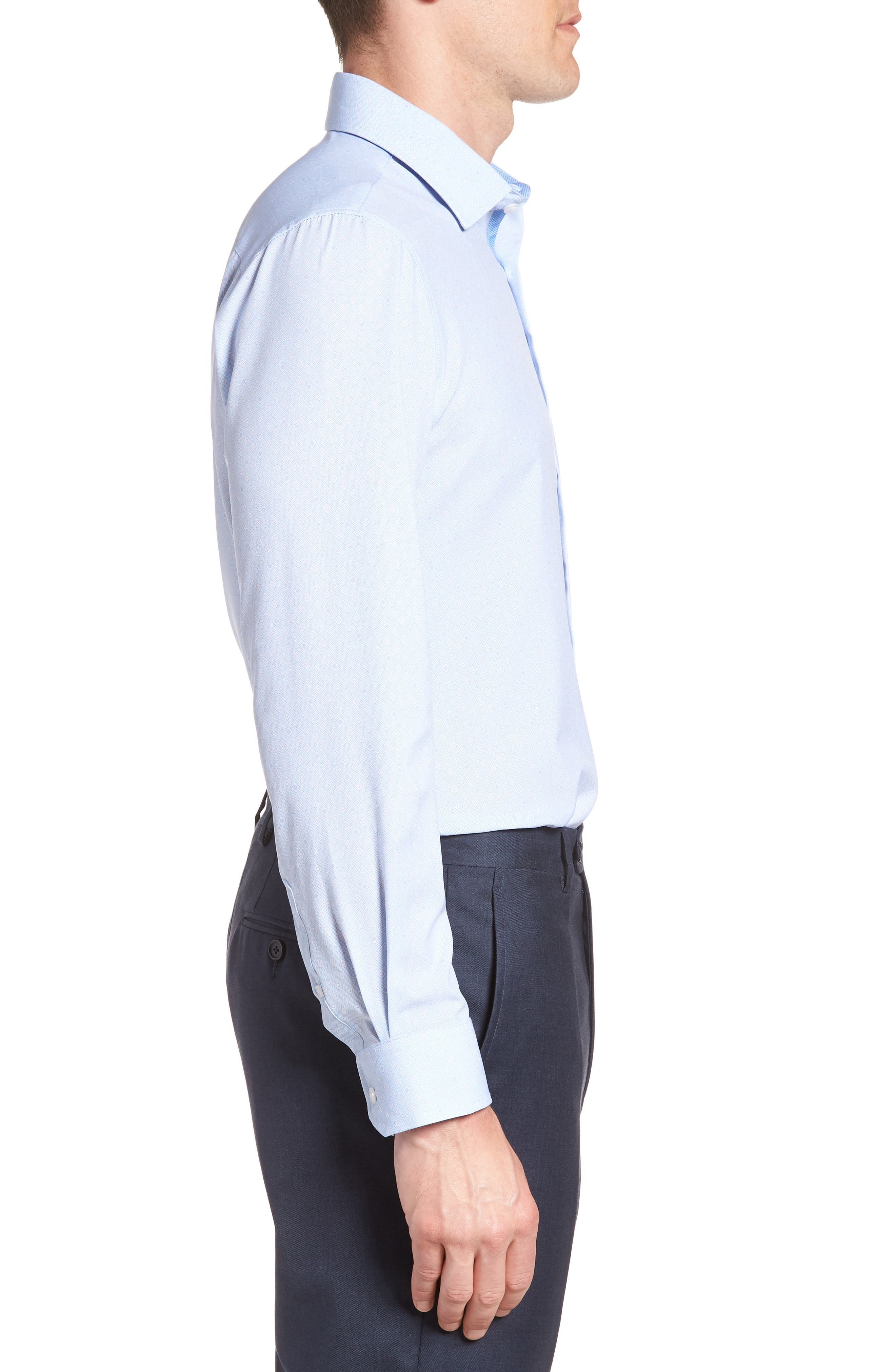 Trim Fit Geometric 4-Way Stretch Dress Shirt,                             Alternate thumbnail 4, color,                             BLUE