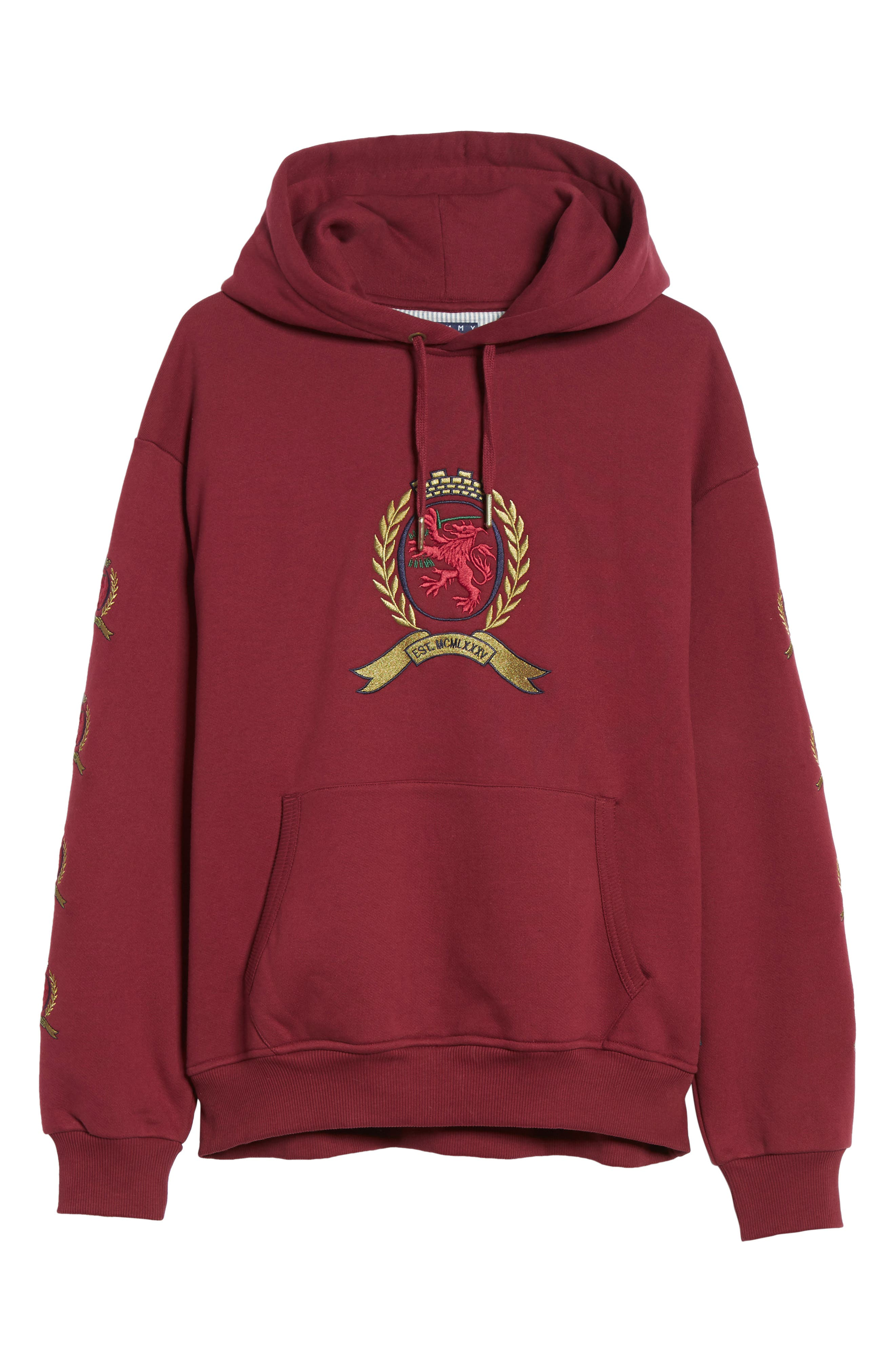 Embroidered Crest Logo Hoodie,                             Alternate thumbnail 6, color,                             CABERNET