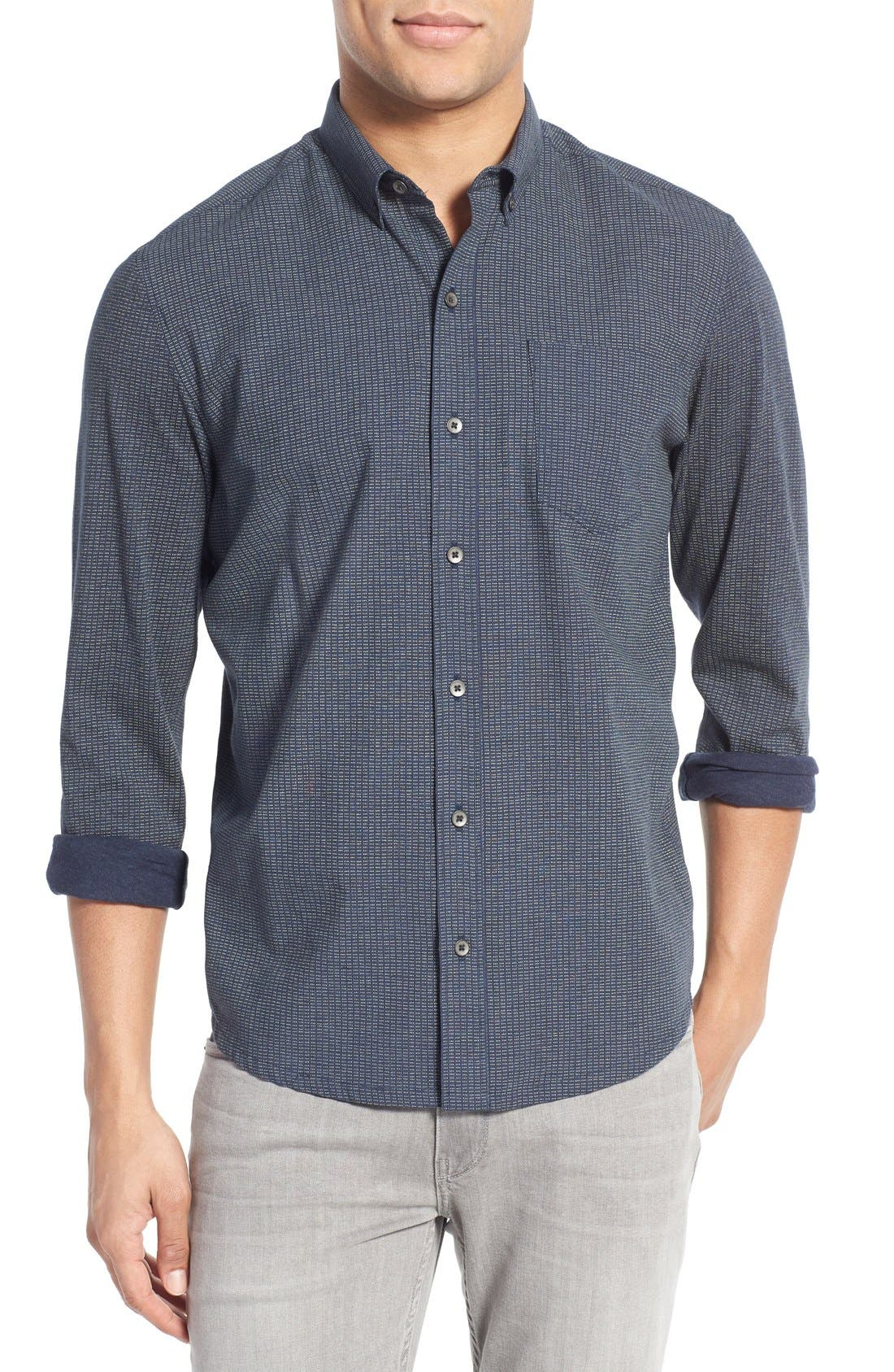 Slim Fit Dot Print Sport Shirt,                         Main,                         color, 410