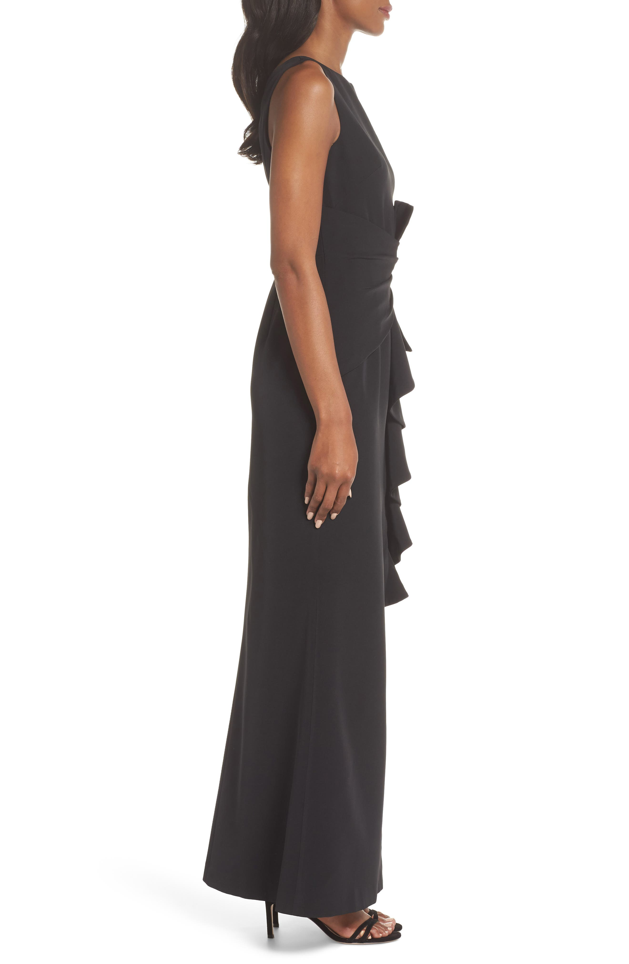 Ruffle Front Gown,                             Alternate thumbnail 3, color,                             BLACK