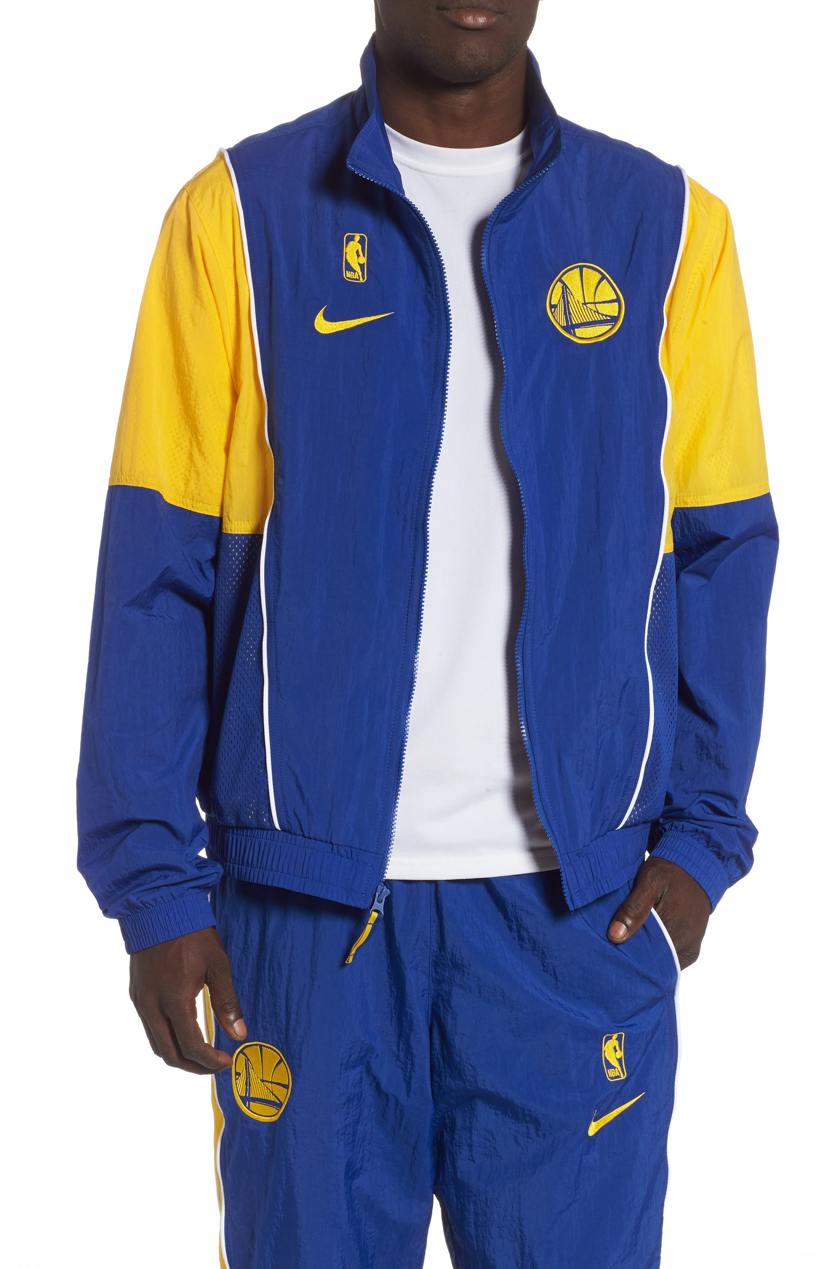 Golden State Warriors Track Jacket,                         Main,                         color, RUSH BLUE/ AMARILLO/ WHITE