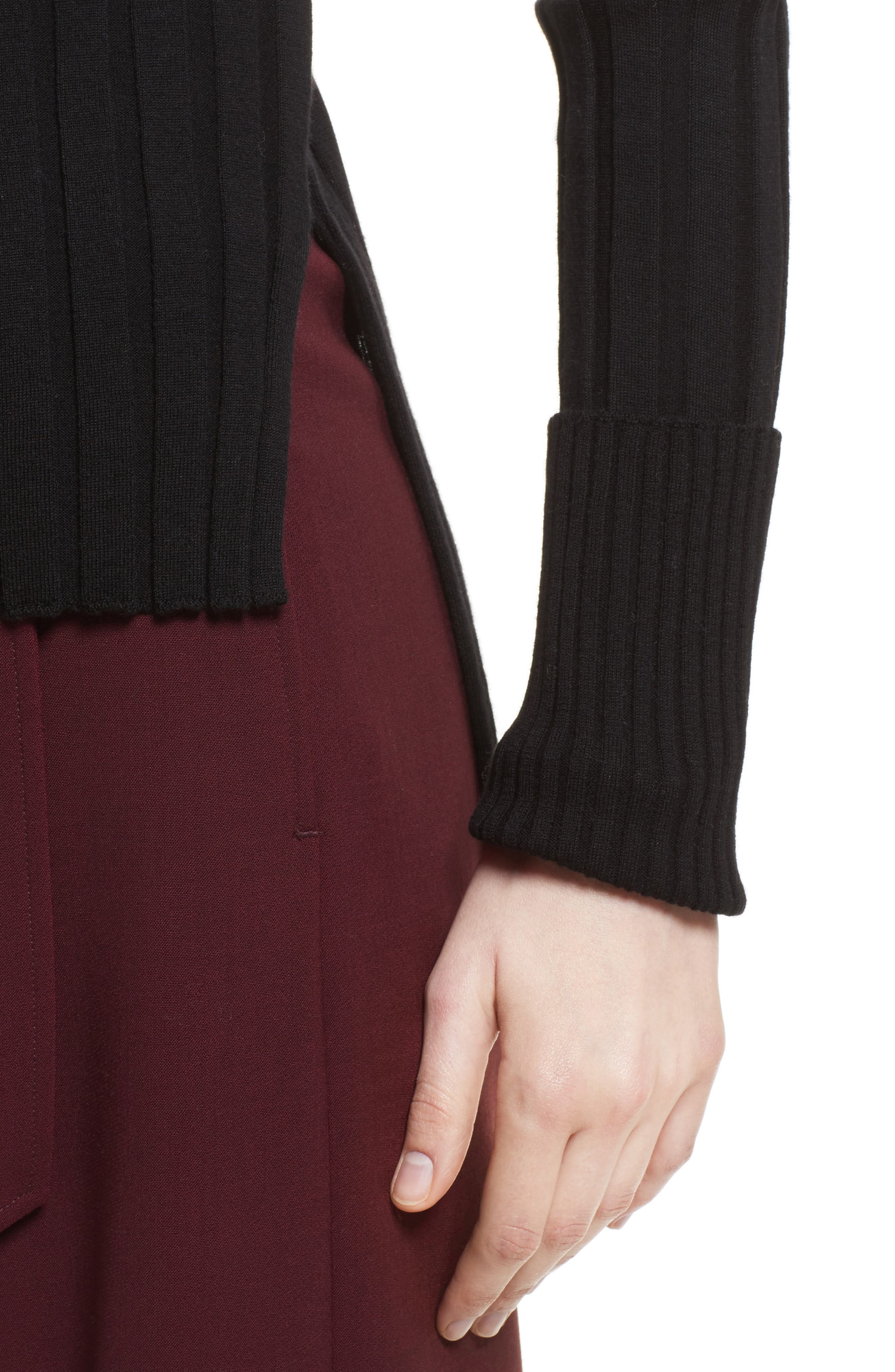 Wide Ribbed Mock Neck Wool Sweater,                             Alternate thumbnail 4, color,                             001